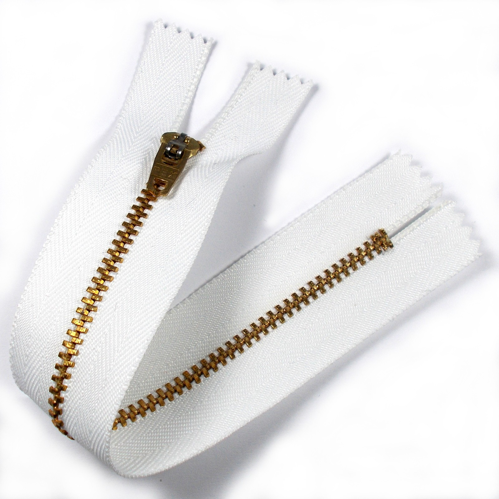 Gold Metal Trouser Jeans Zip Zipper 8 inch White