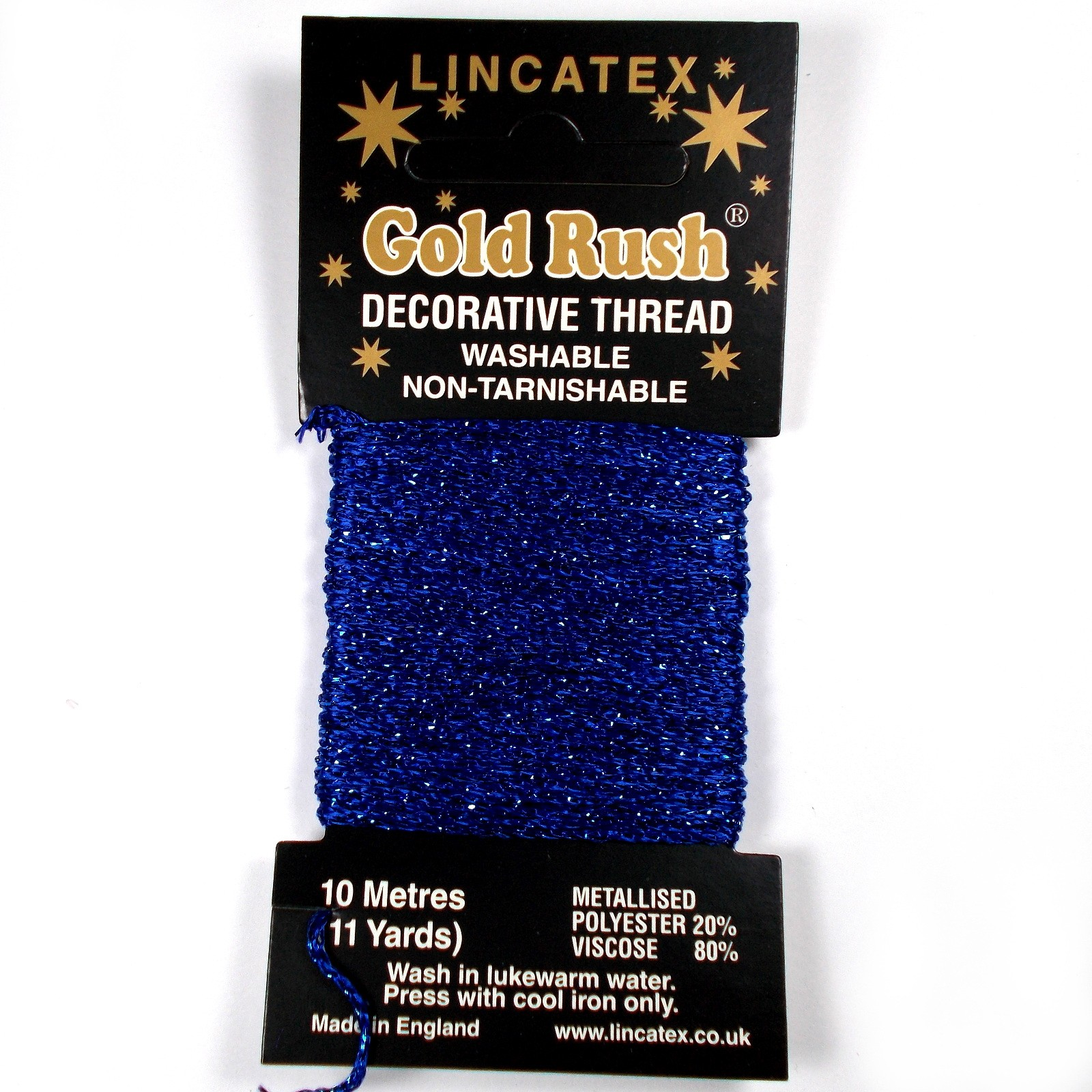 Gold Rush Metallic Decorative Glitter Embroidery Thread - 10 Metre Card Royal Blue