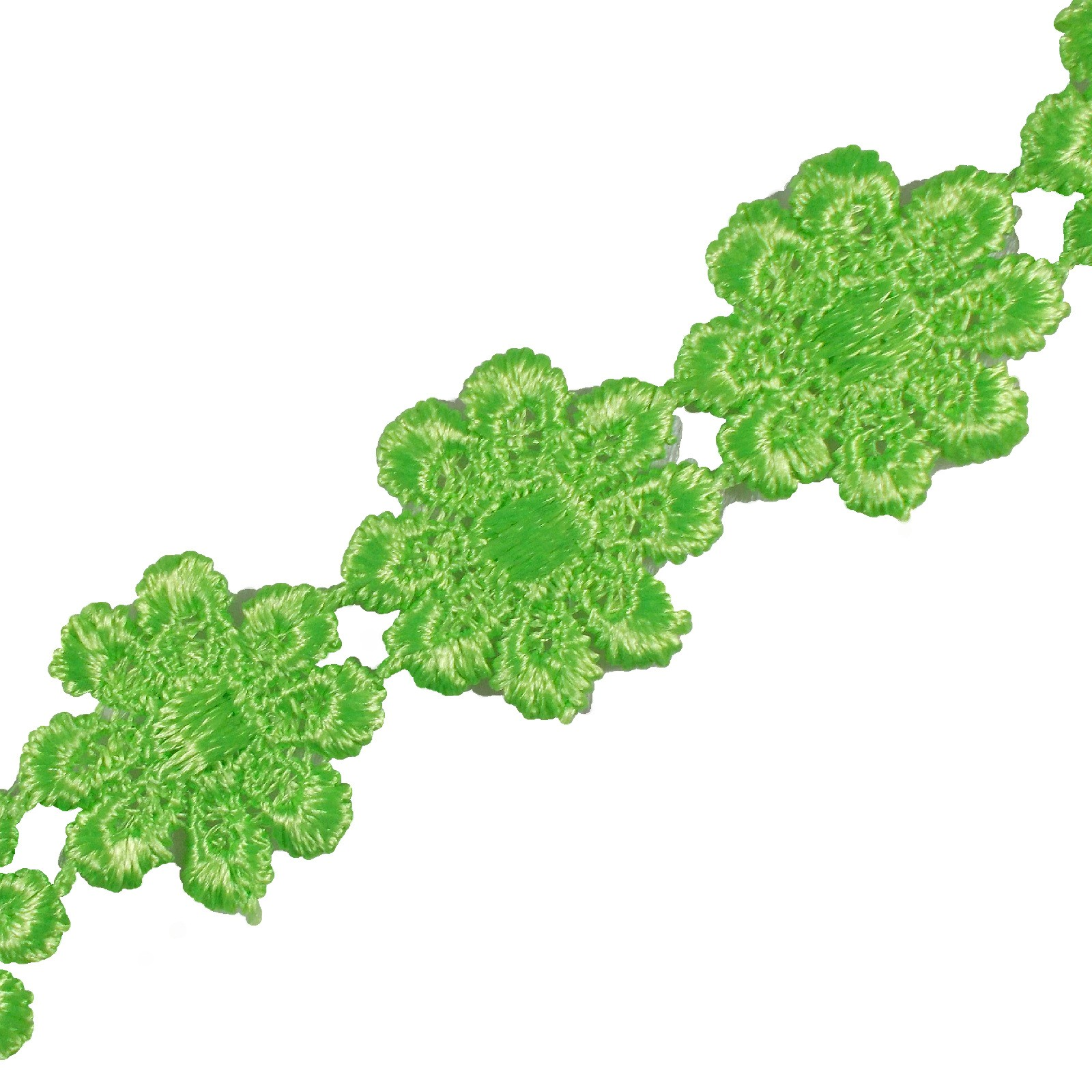 Guipure Daisy Flowers Lace Trim Applique 25mm Lime Green 2 metre length