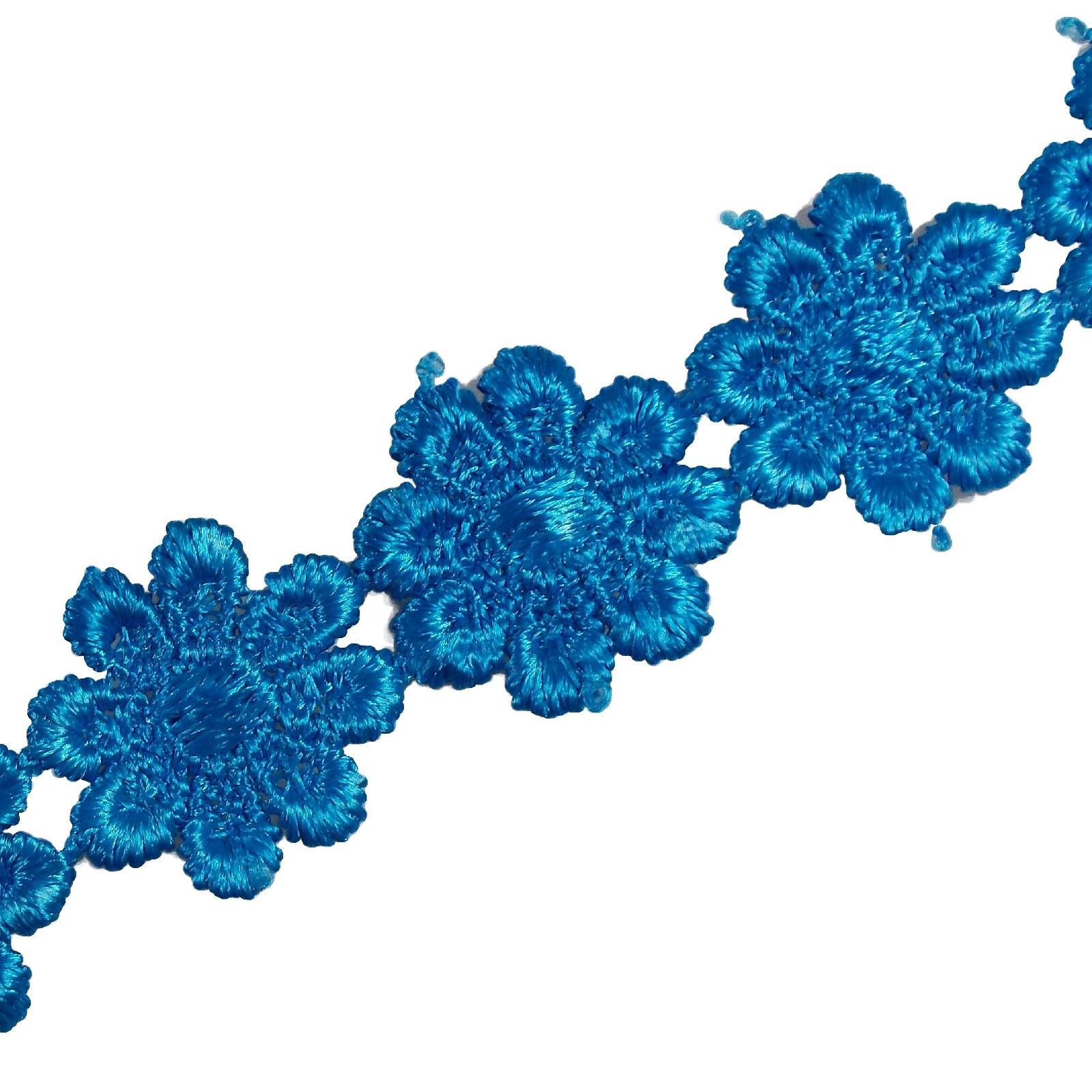 Guipure Daisy Flowers Lace Trim Applique 25mm Pale Blue 1 metre length