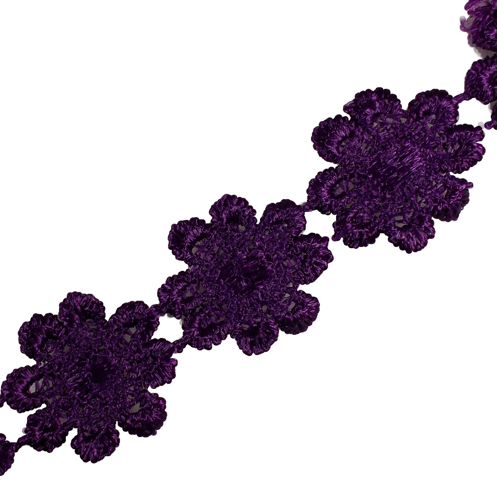 Guipure Daisy Flowers Lace Trim Applique 25mm Purple 1 metre length