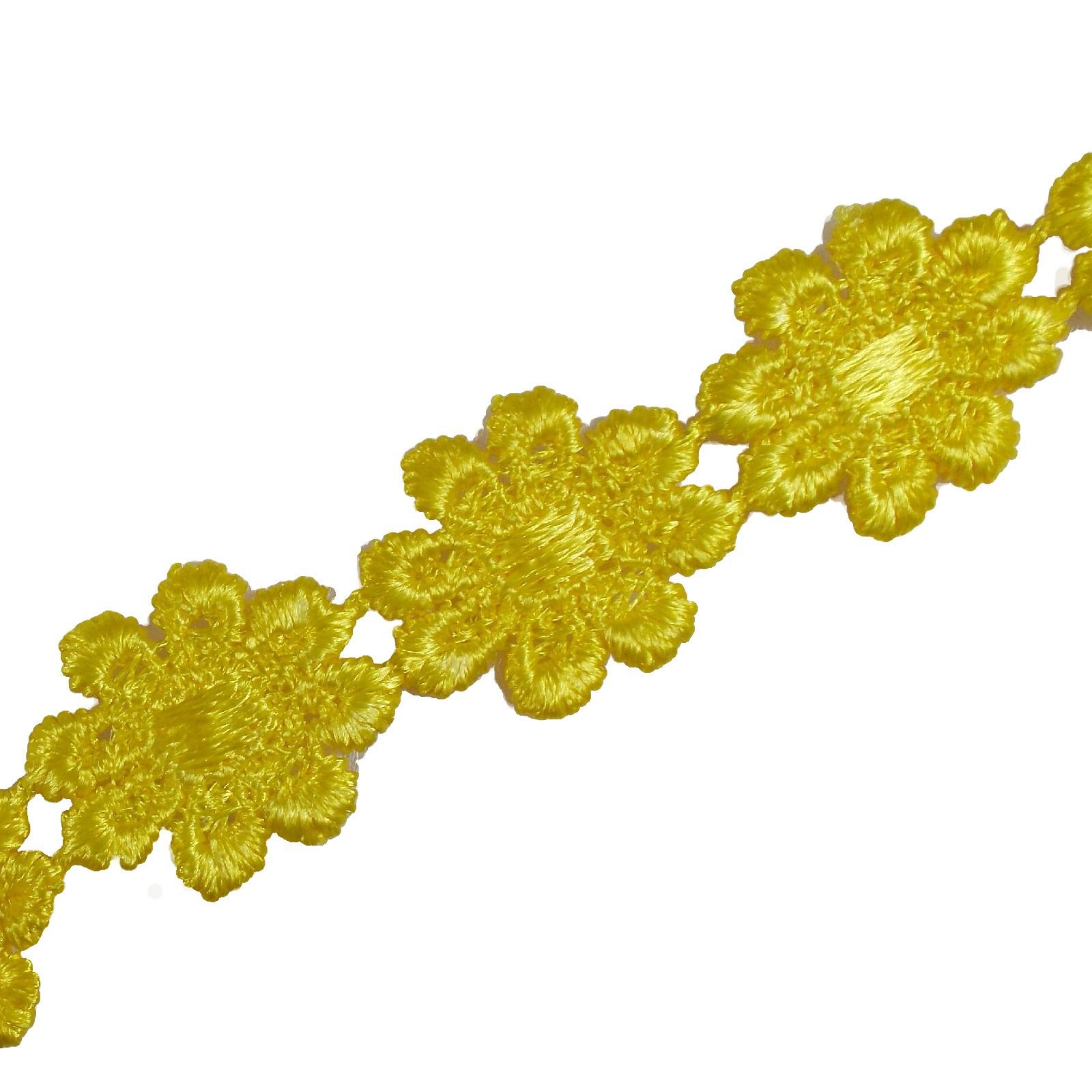 Guipure Daisy Flowers Lace Trim Applique 25mm Yellow 1 metre length