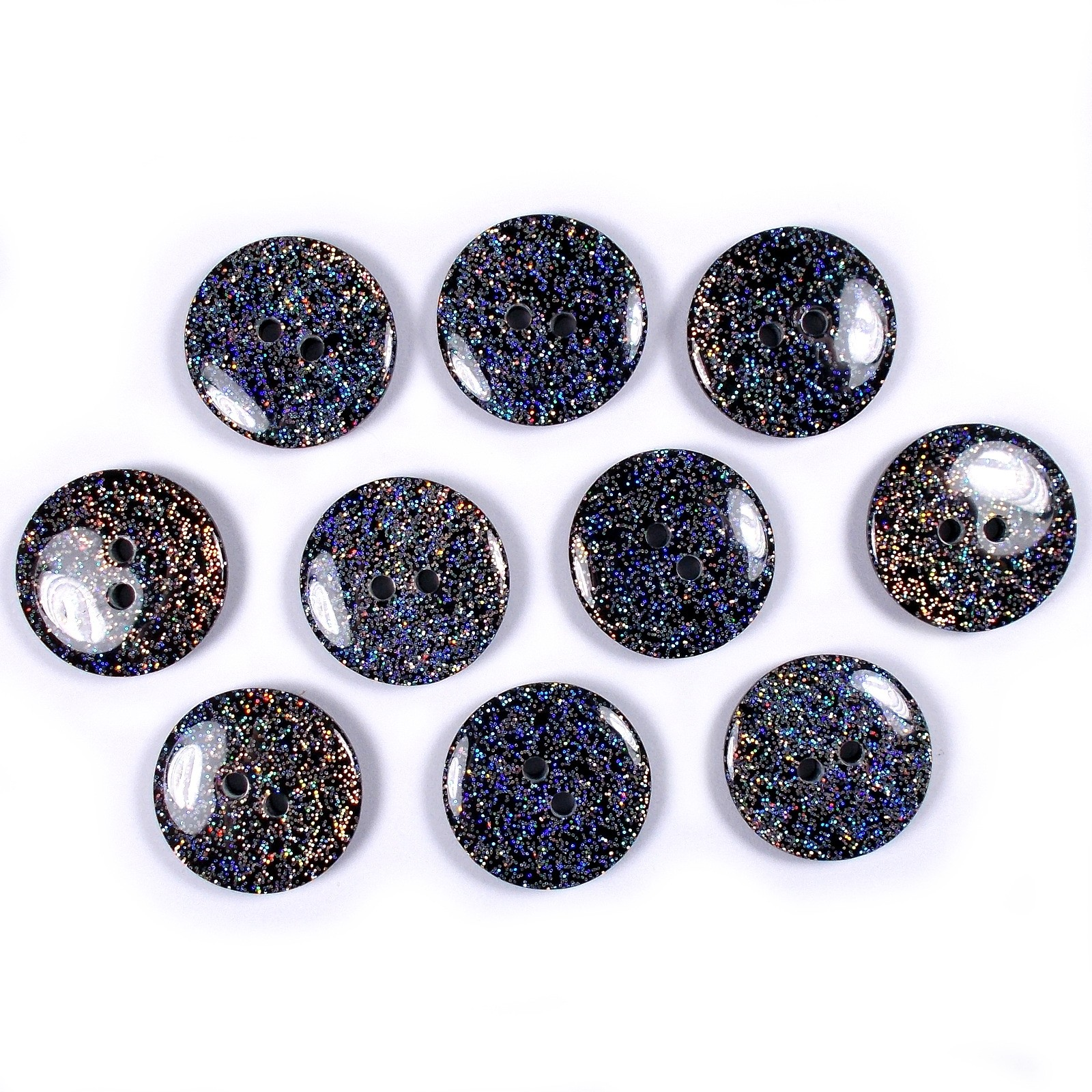 Iridescent Glitter Round 2 Hole Buttons 12mm Black Pack of 10