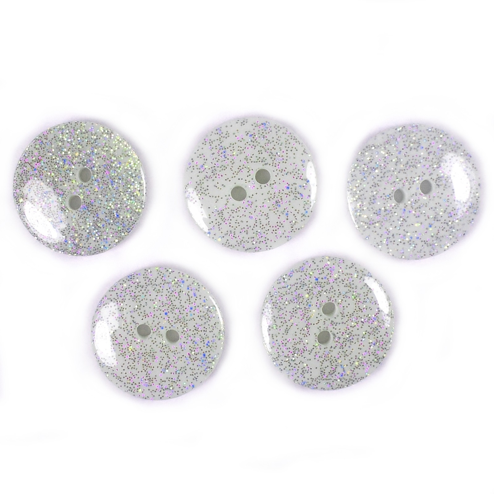 Iridescent Glitter Round 2 Hole Buttons 22mm White Pack of 5