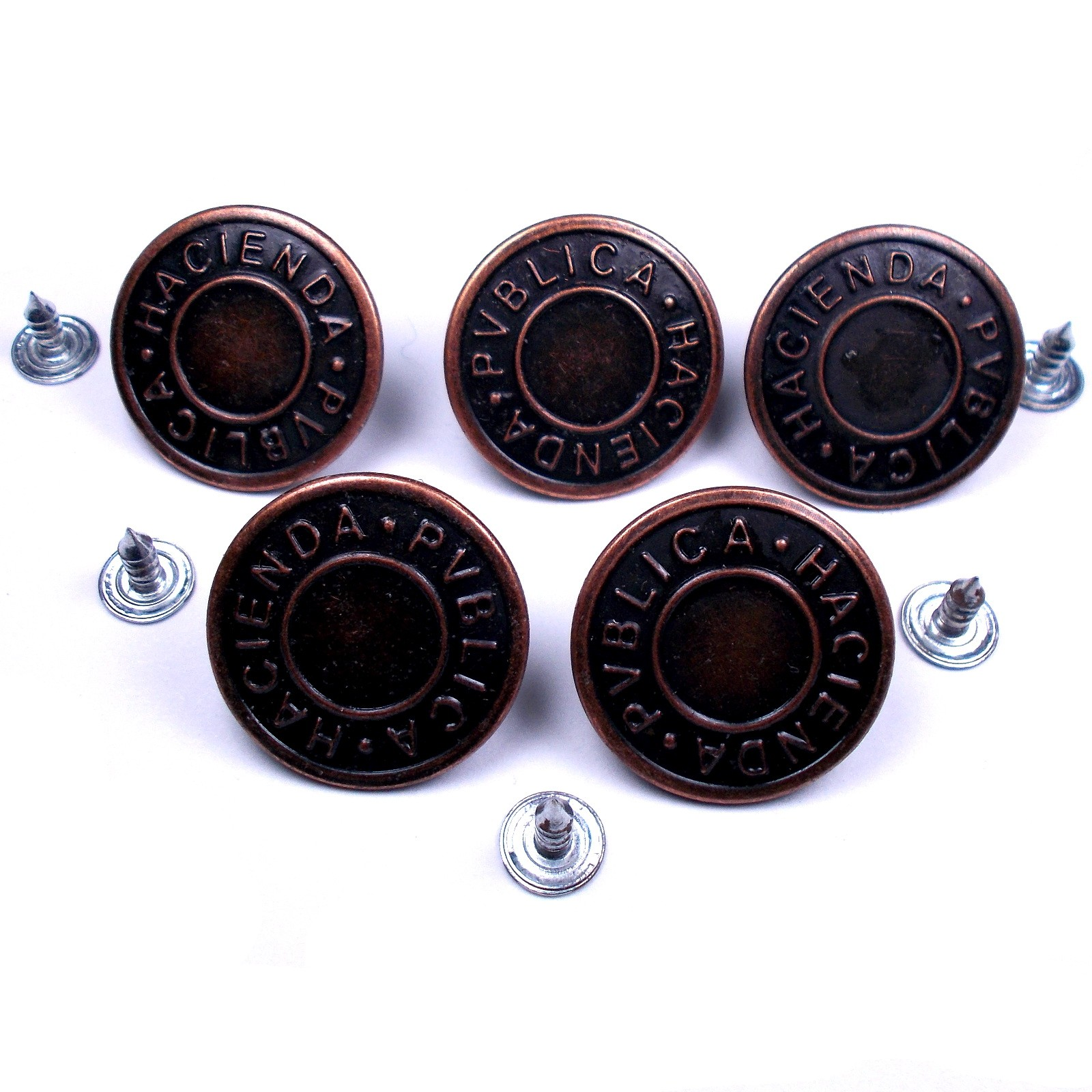 Metal Hacienda Publica Hammer on Jeans Buttons 17mm Brass Pack of 5
