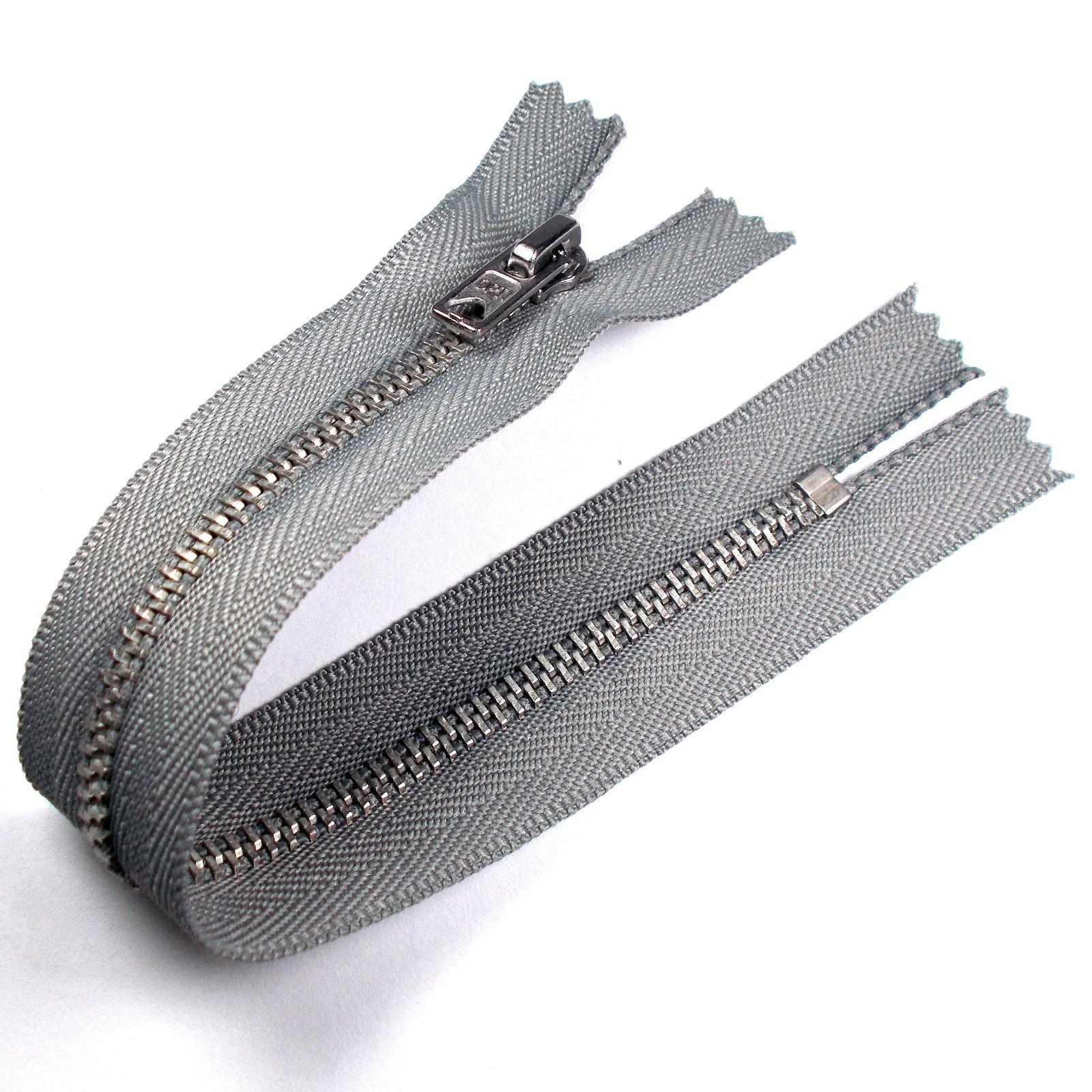 Silver Metal Trouser Jeans Zip Zipper 9 inch Light Grey