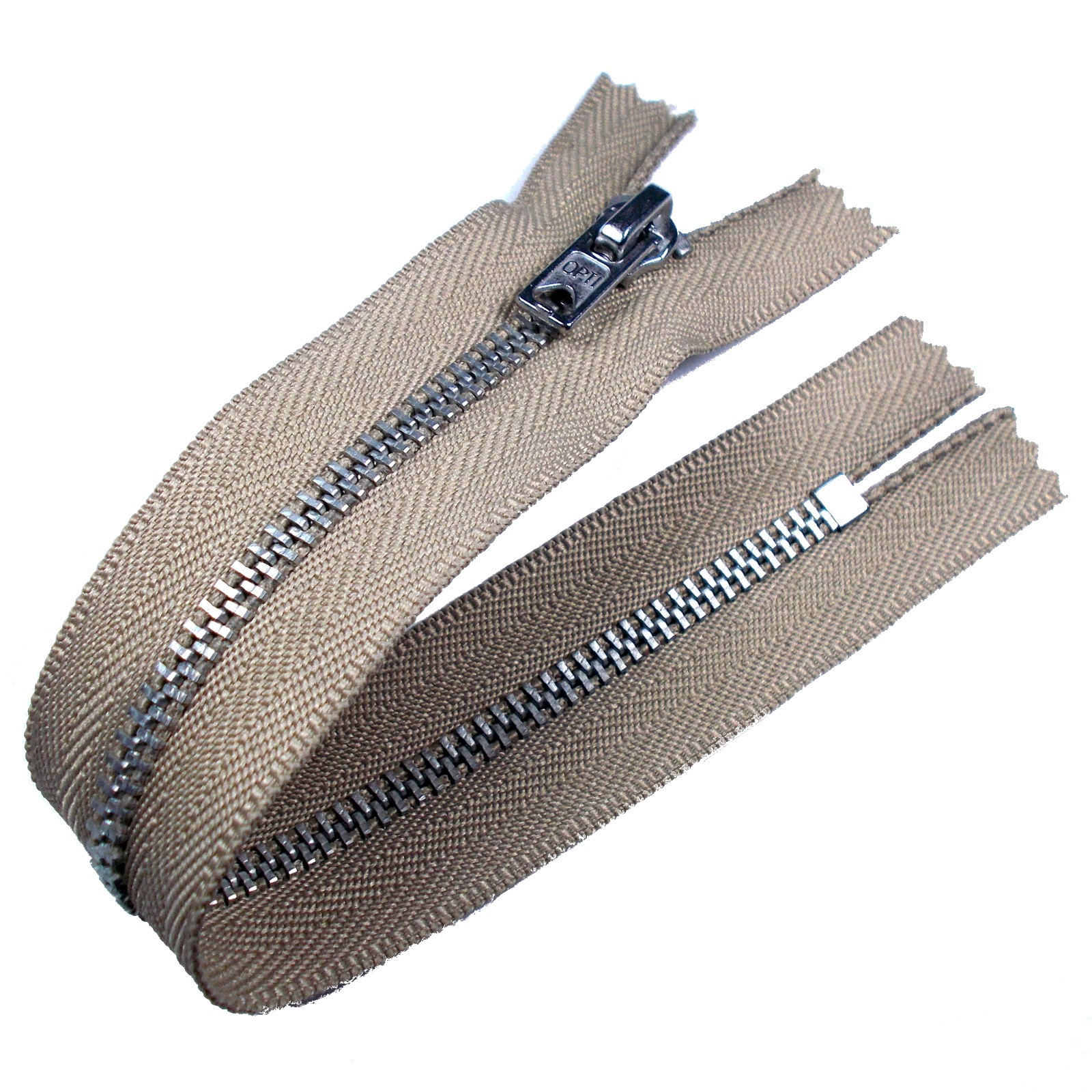 Silver Metal Trouser Jeans Zip Zipper 8 inch Beige