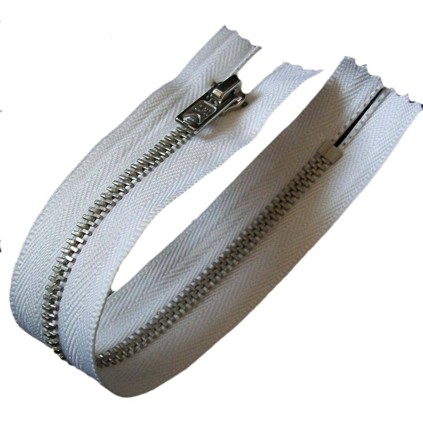 Silver Metal Trouser Jeans Zip Zipper 9 inch White