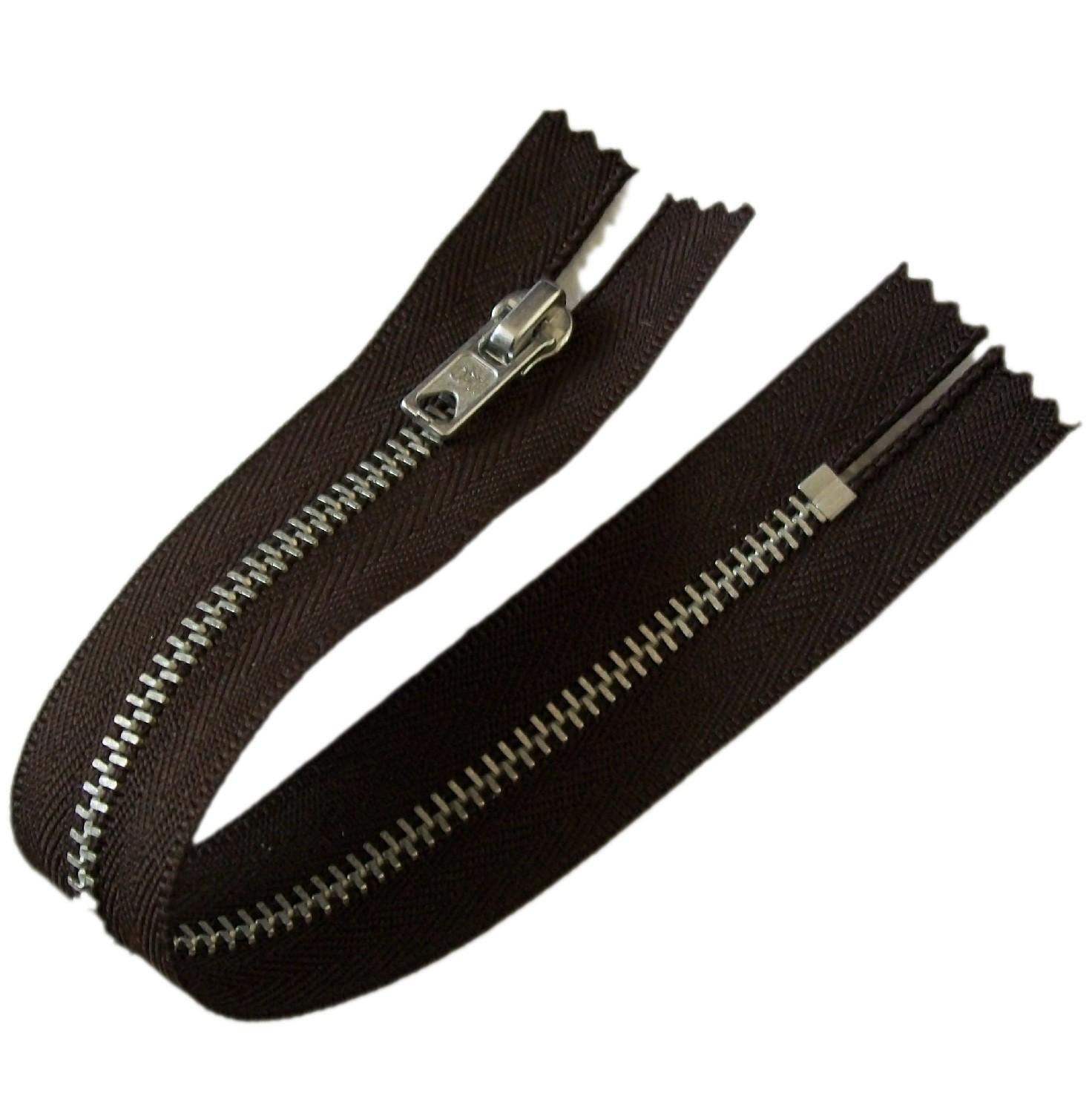 Silver Metal Trouser Jeans Zip Zipper 9 inch Dark Brown