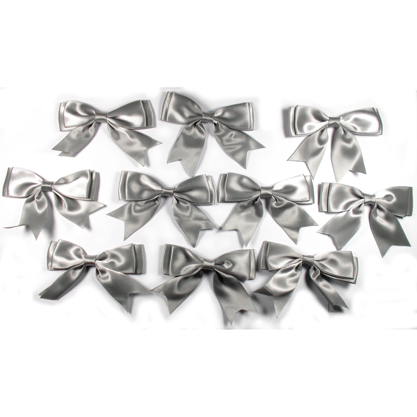 Large Satin Ribbon Double Bows 8cm wide Grey Pack of 10