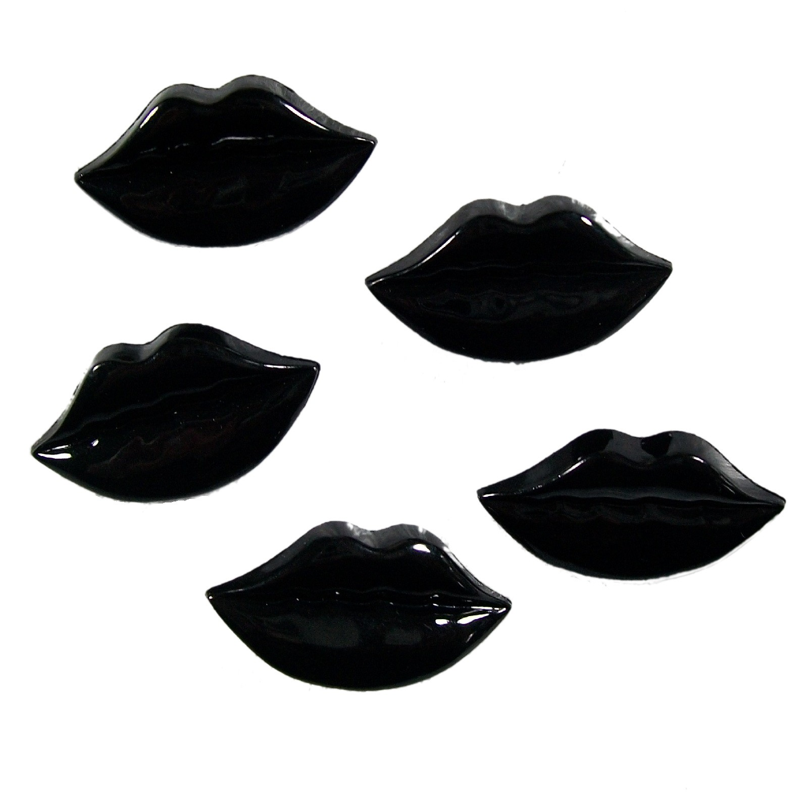 Lips Shape Plastic Kitsch Buttons 25mm Black Pack of 5