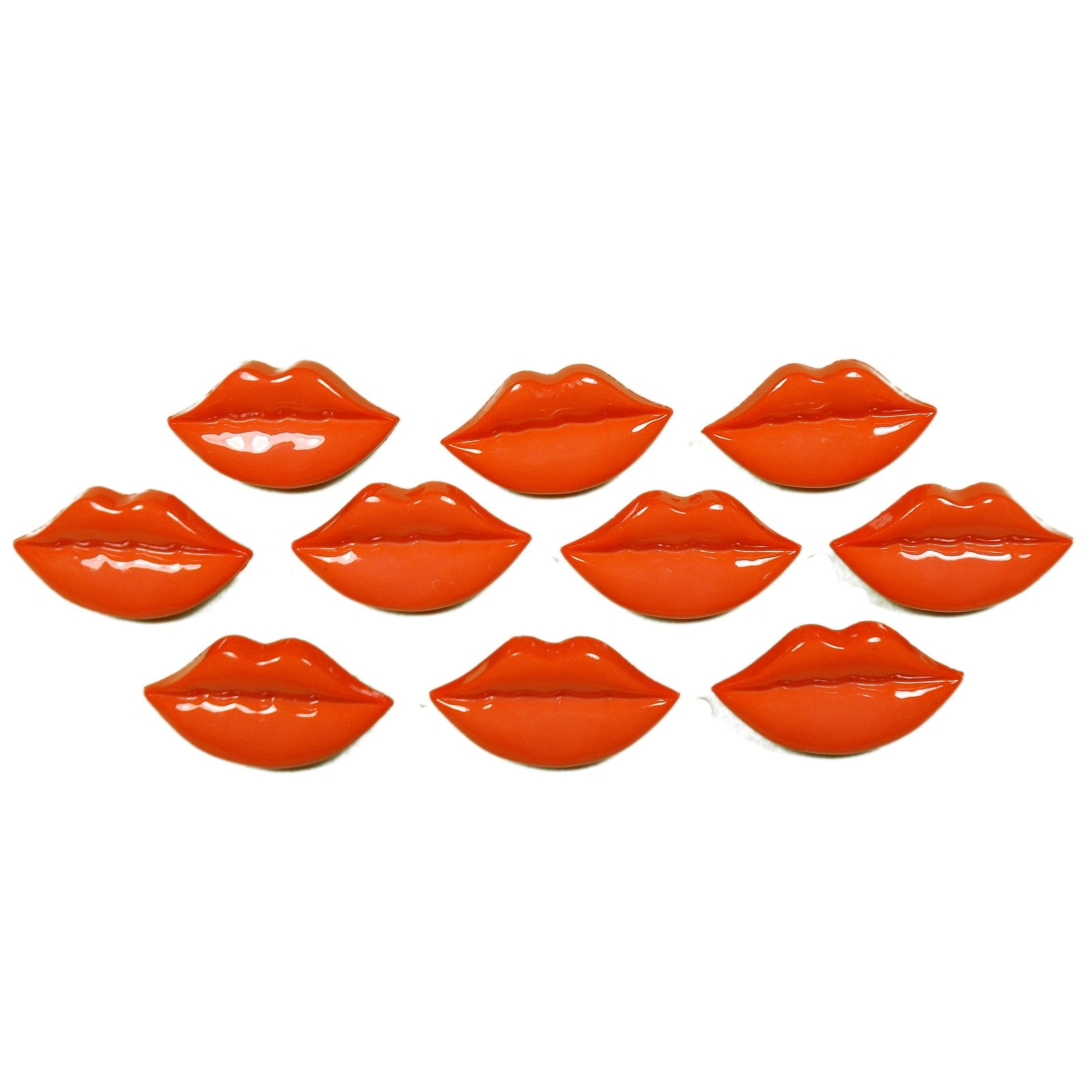 Lips Shape Plastic Kitsch Buttons 25mm Peach Pack of 10