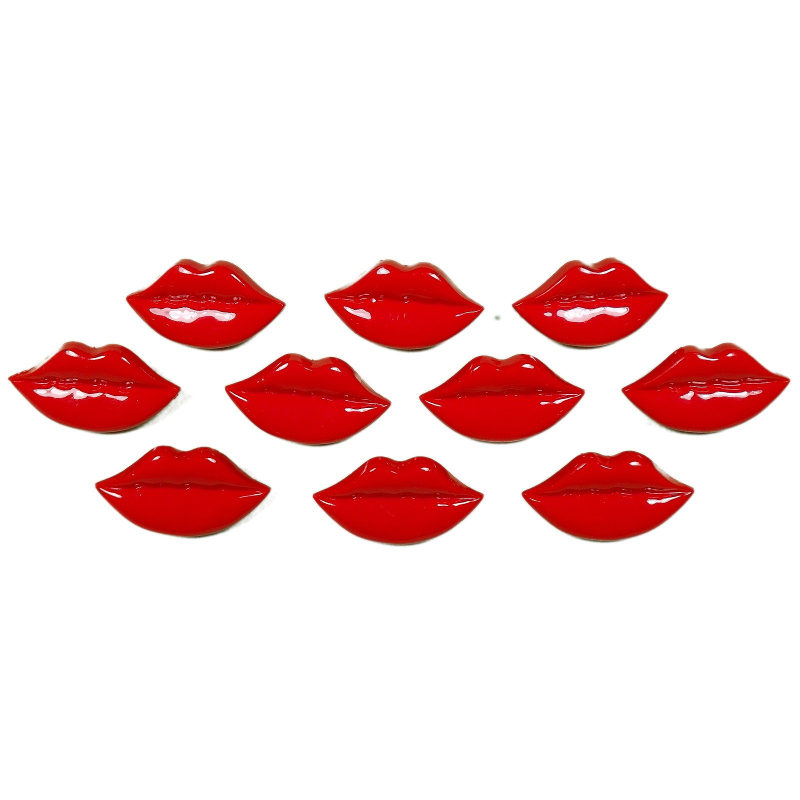 Lips Shape Plastic Kitsch Buttons 25mm Red Pack of 10