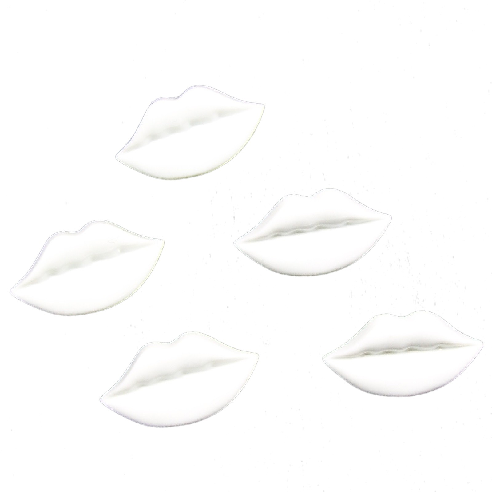 Lips Shape Plastic Kitsch Buttons 25mm White Pack of 5