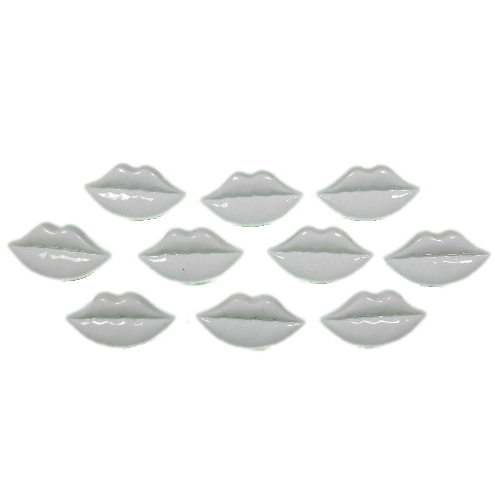 Lips Shape Plastic Kitsch Buttons 25mm White Pack of 10