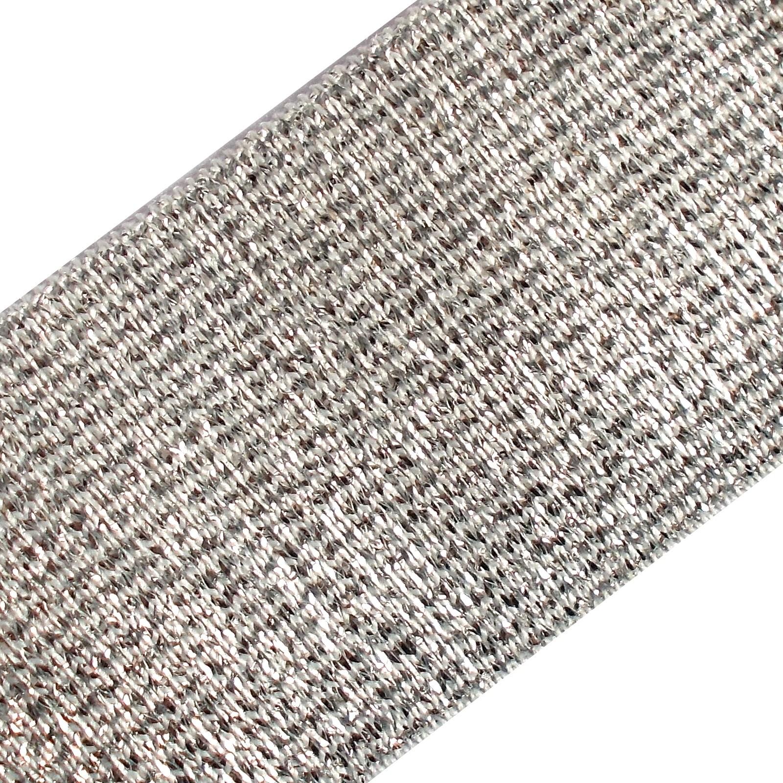 Lurex Elastic Stretch Trim 40mm wide Silver on White 1 metre length