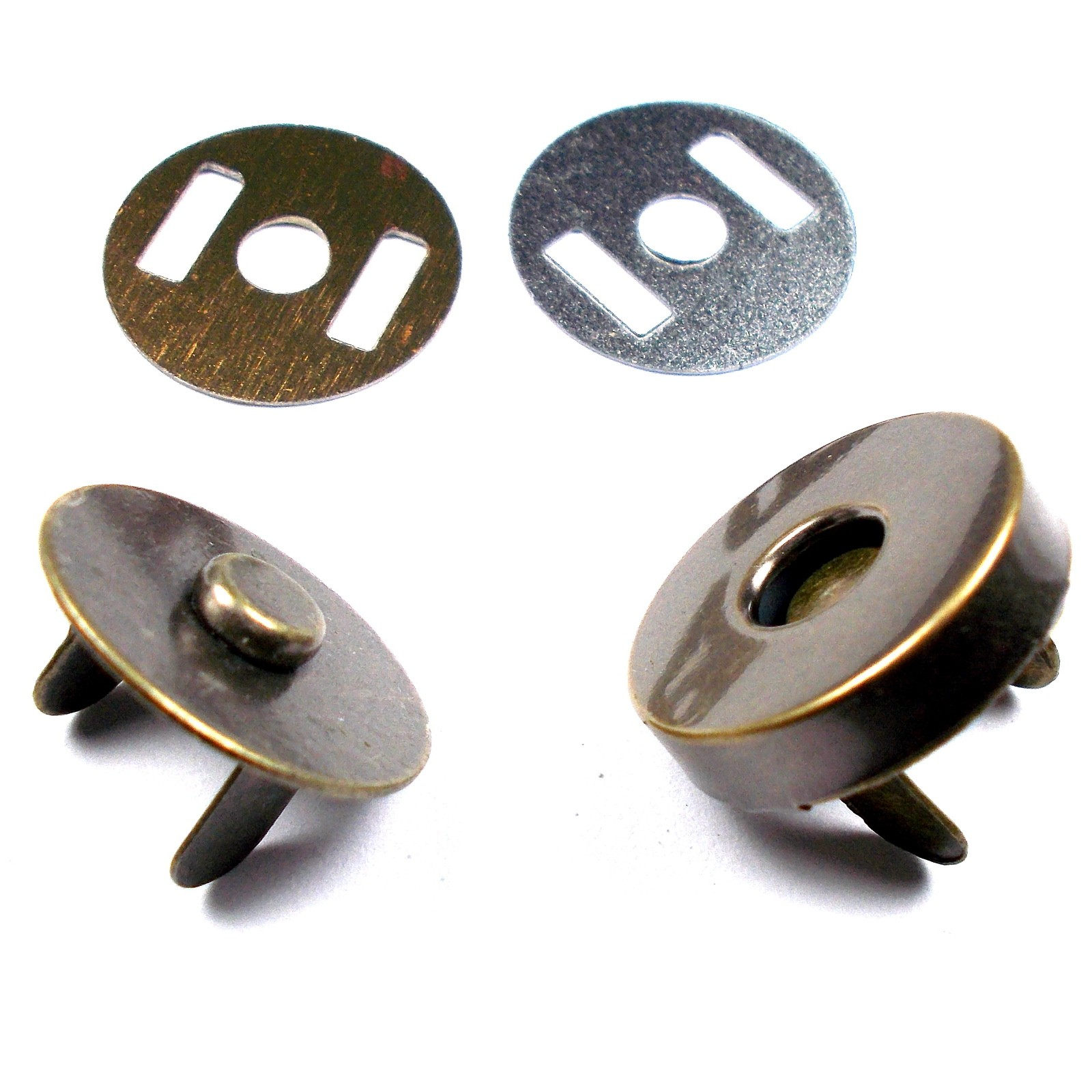 Metal Magnetic Clasps Bag Fasteners 14mm Brass Pack of 6
