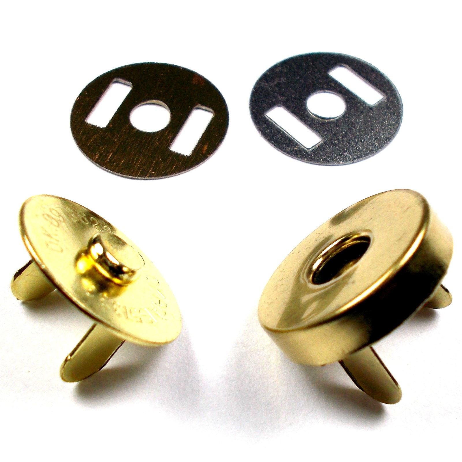 Metal Magnetic Clasps Bag Fasteners 14mm Gold Pack of 4