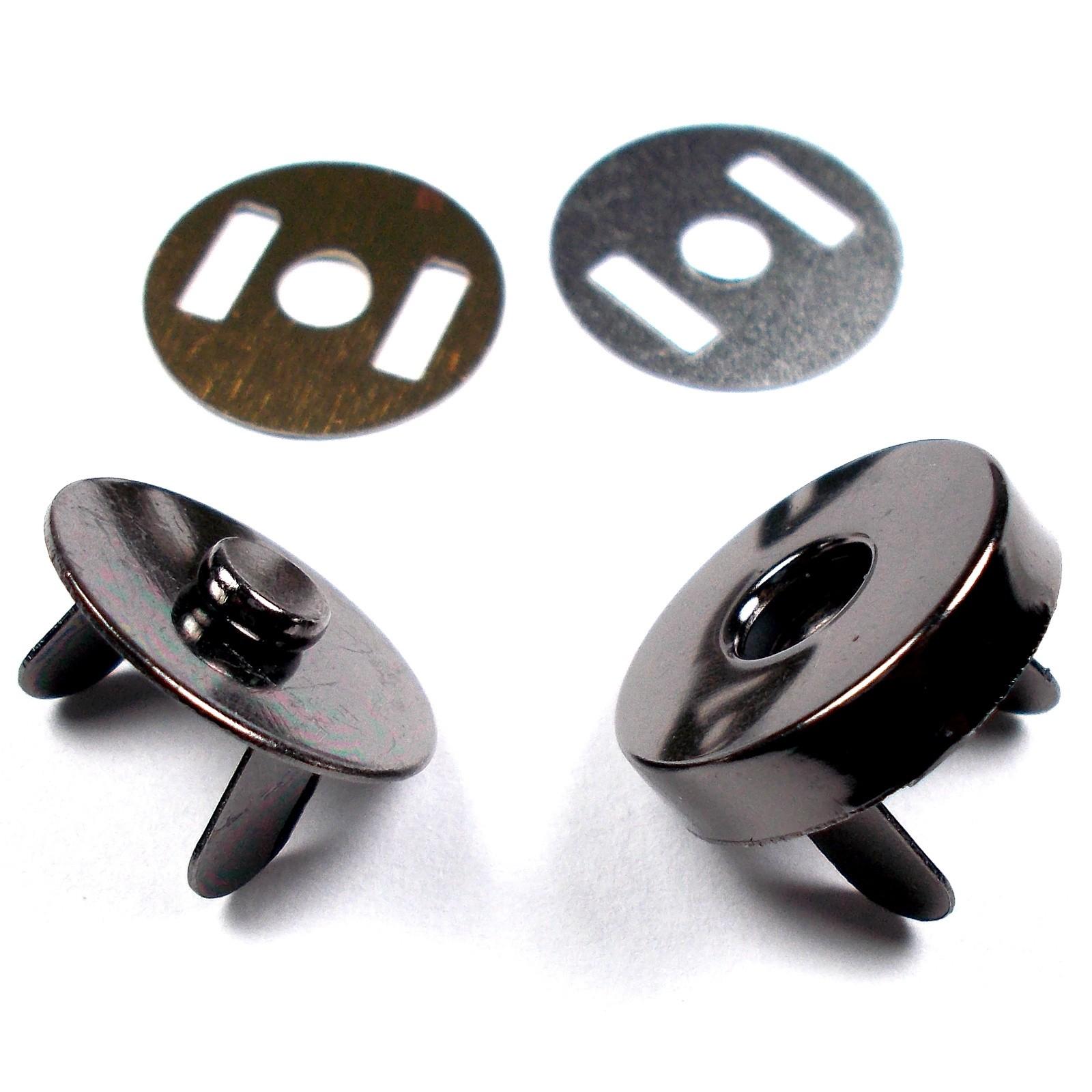 Metal Magnetic Clasps Bag Fasteners 18mm Gun Metal Grey Pack of 2