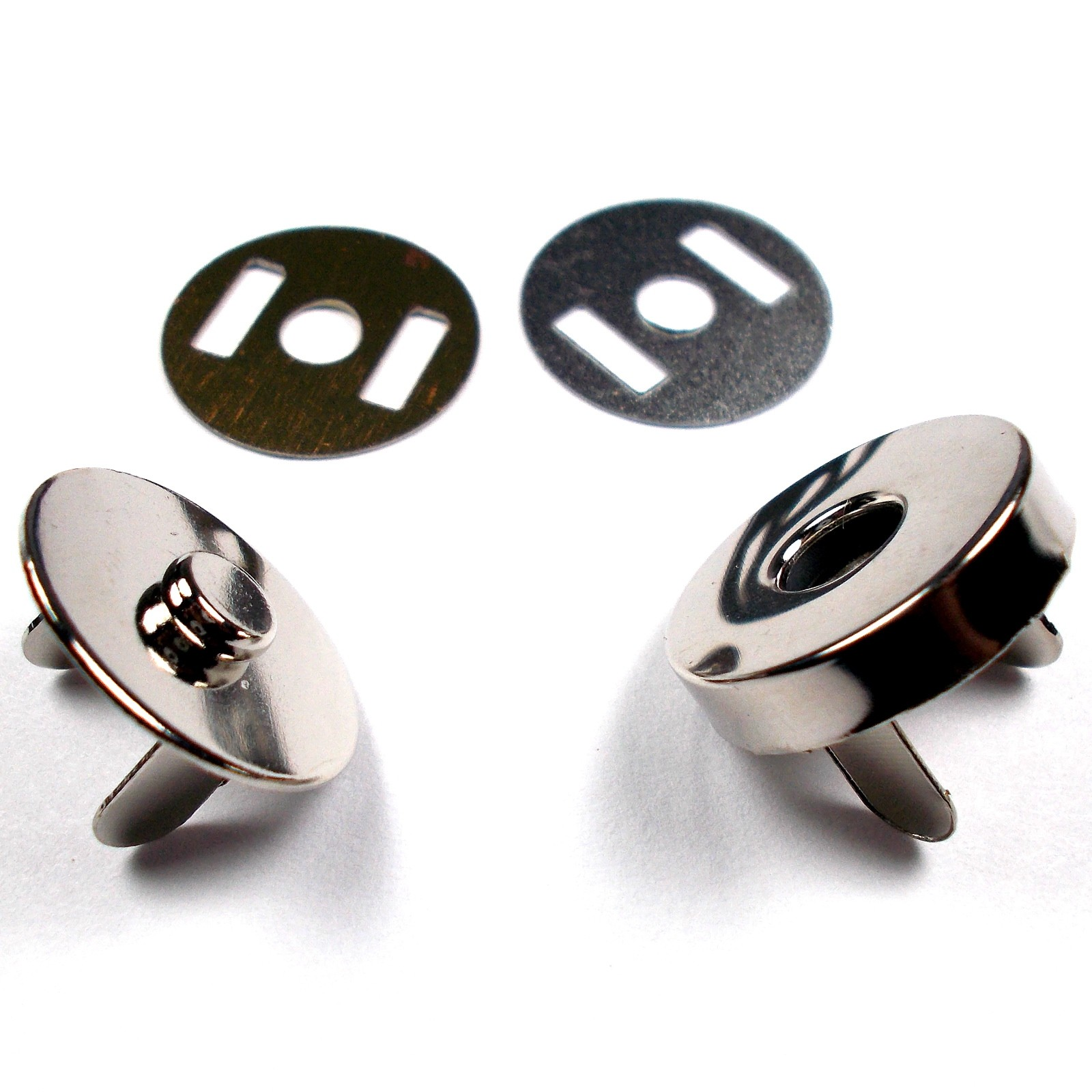 Metal Magnetic Clasps Bag Fasteners 14mm Silver Pack of 2