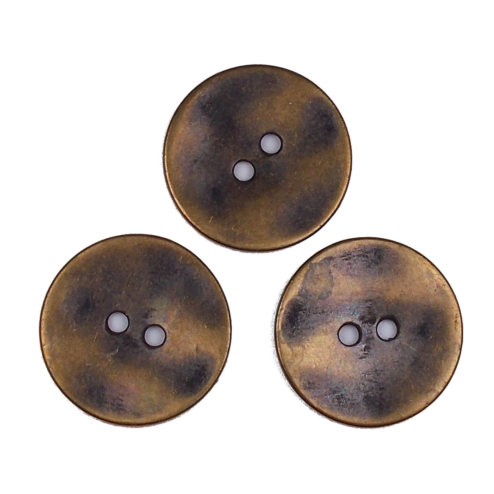 Metal Round Circle Buttons 15mm Brass Pack of 3