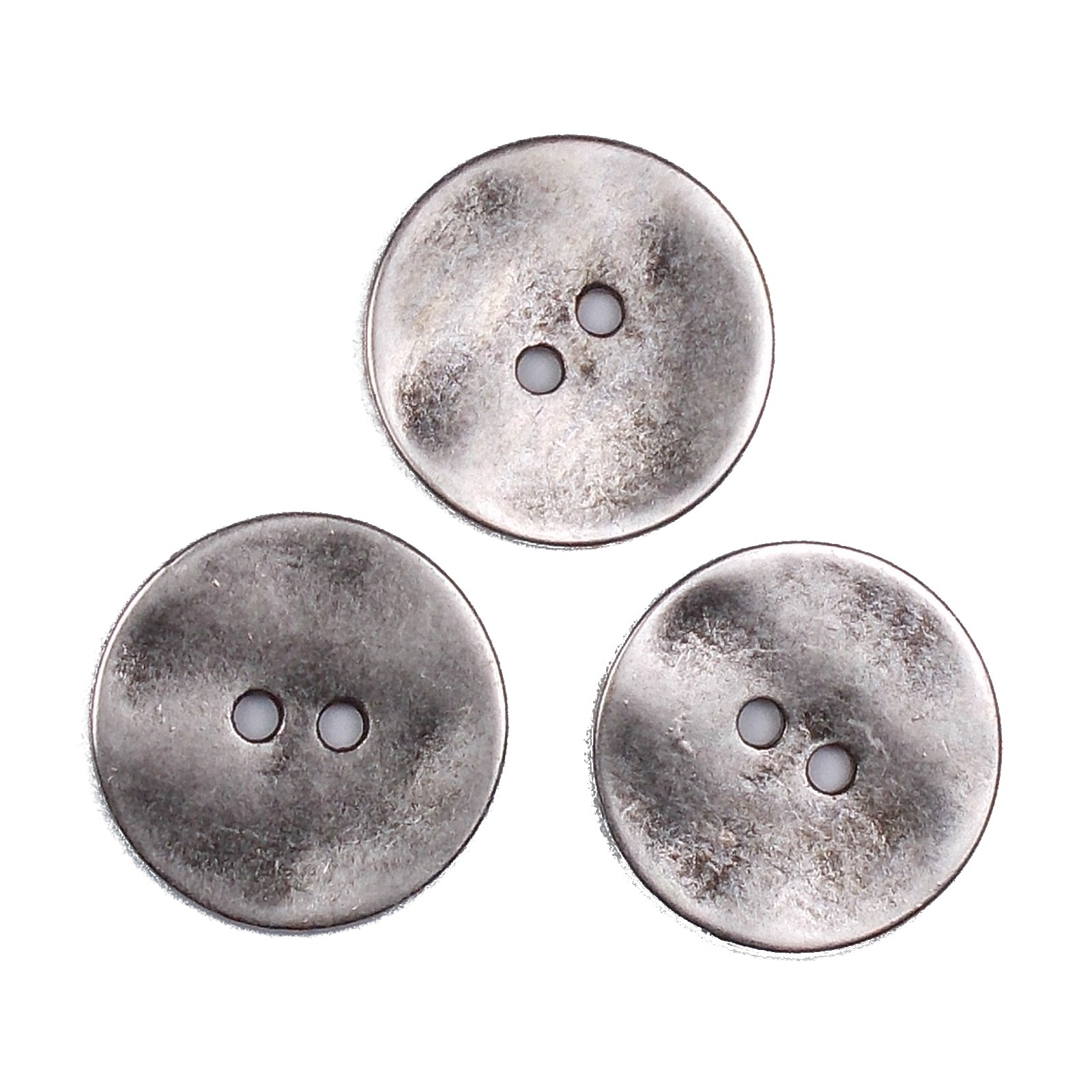 Metal Round Circle Buttons 34mm Silver Pack of 3