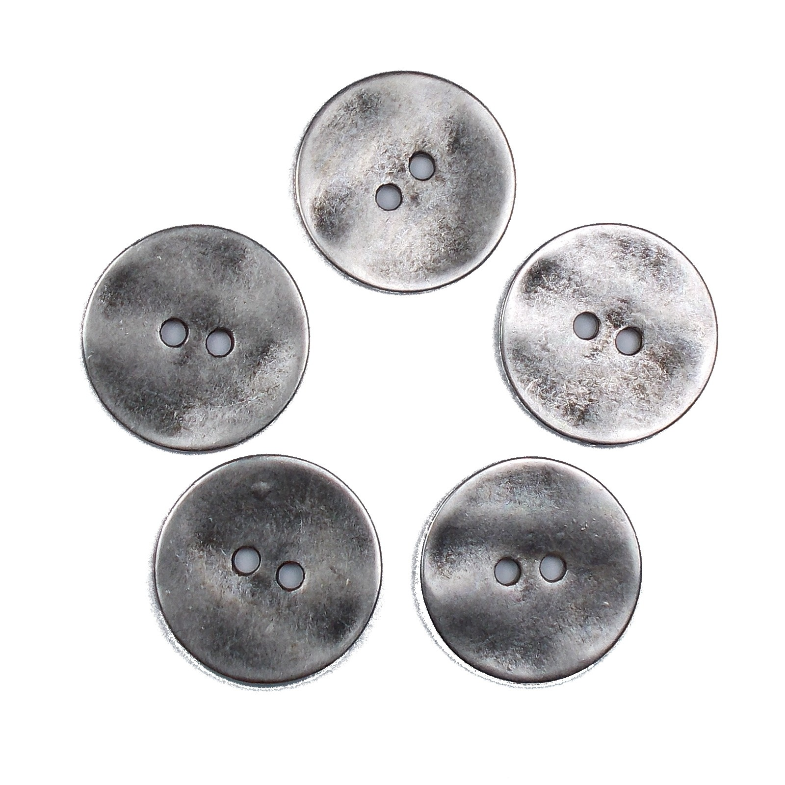 Metal Round Circle Buttons 20mm Silver Pack of 5