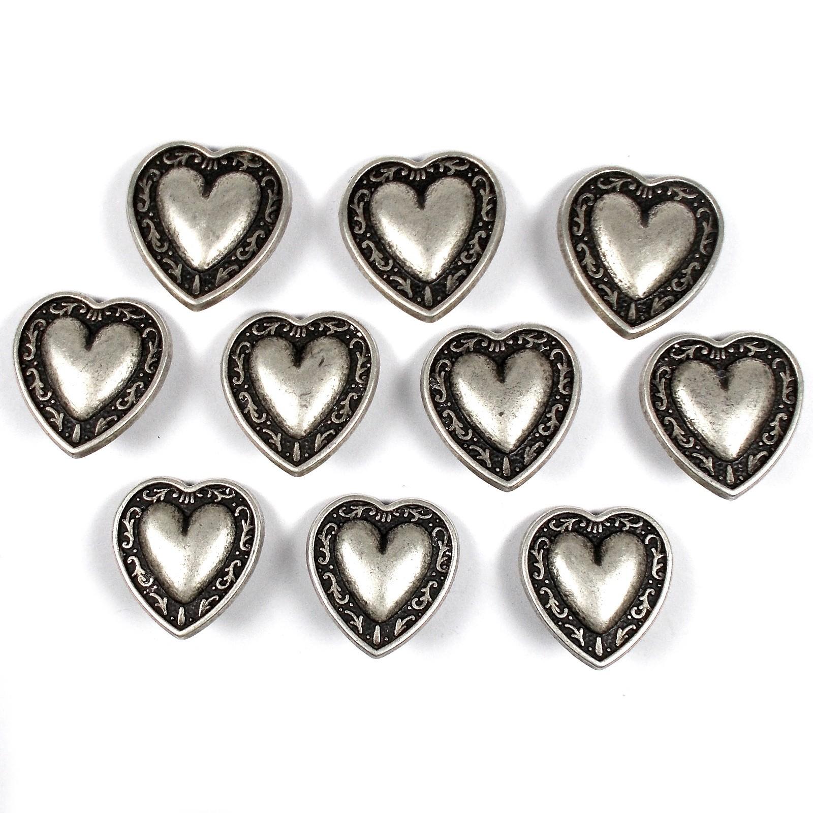 Metal Heart Buttons Vine Border Antique Silver Colour 18mm