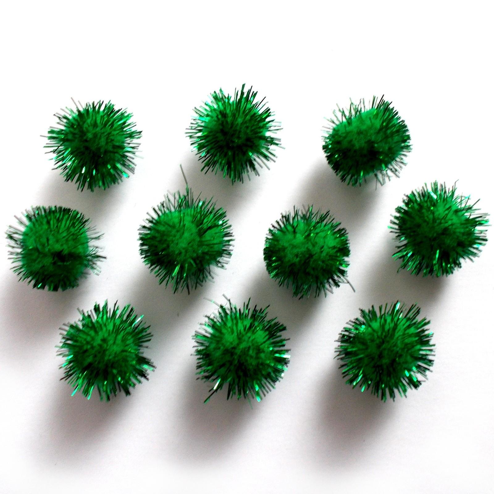 Metallic Pom Poms 25mm Green Pack of 10