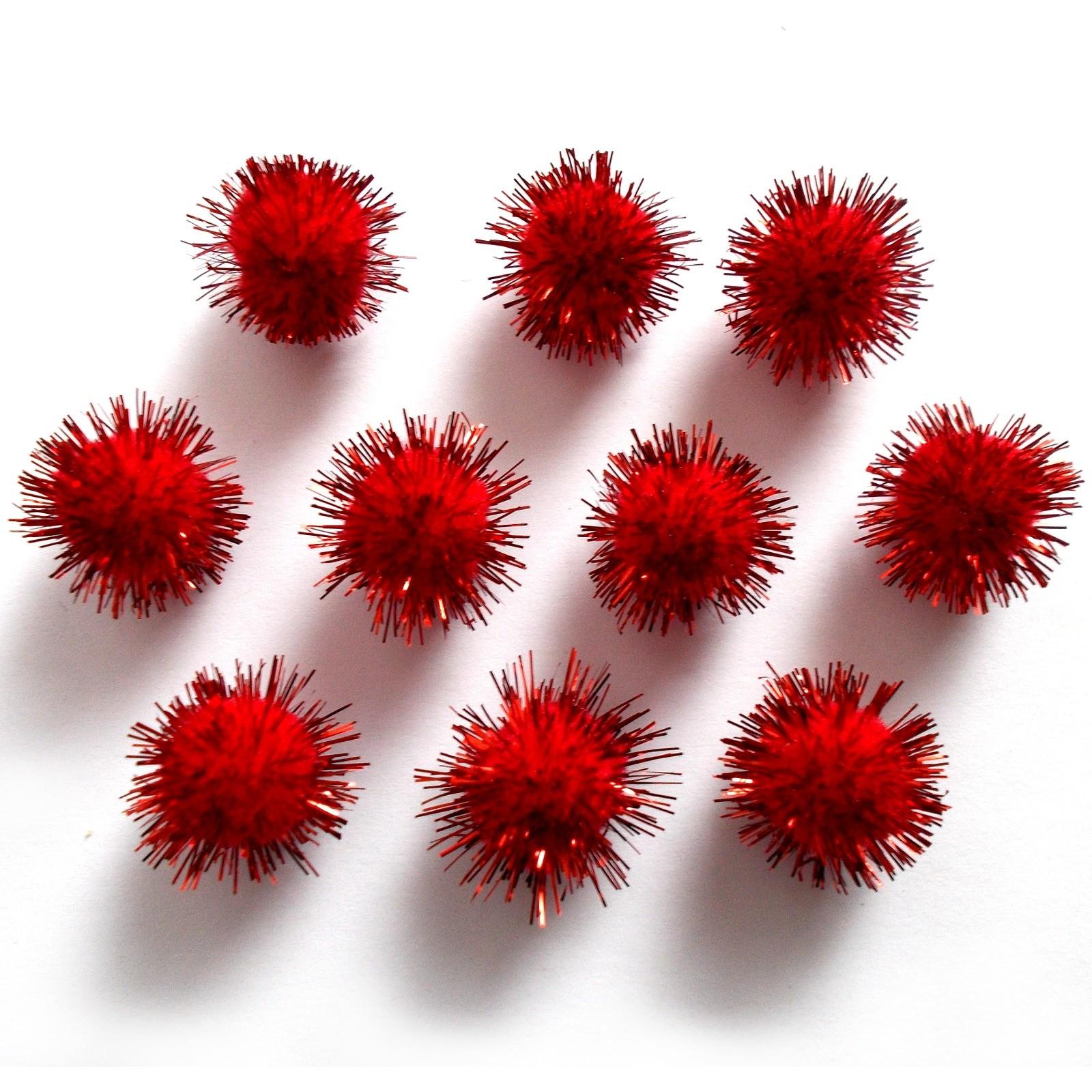 Metallic Pom Poms 13mm Red Pack of 10