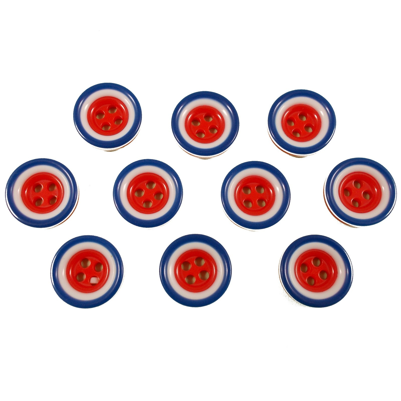 Mod Target Style Round Plastic Buttons 15mm Pack of 10
