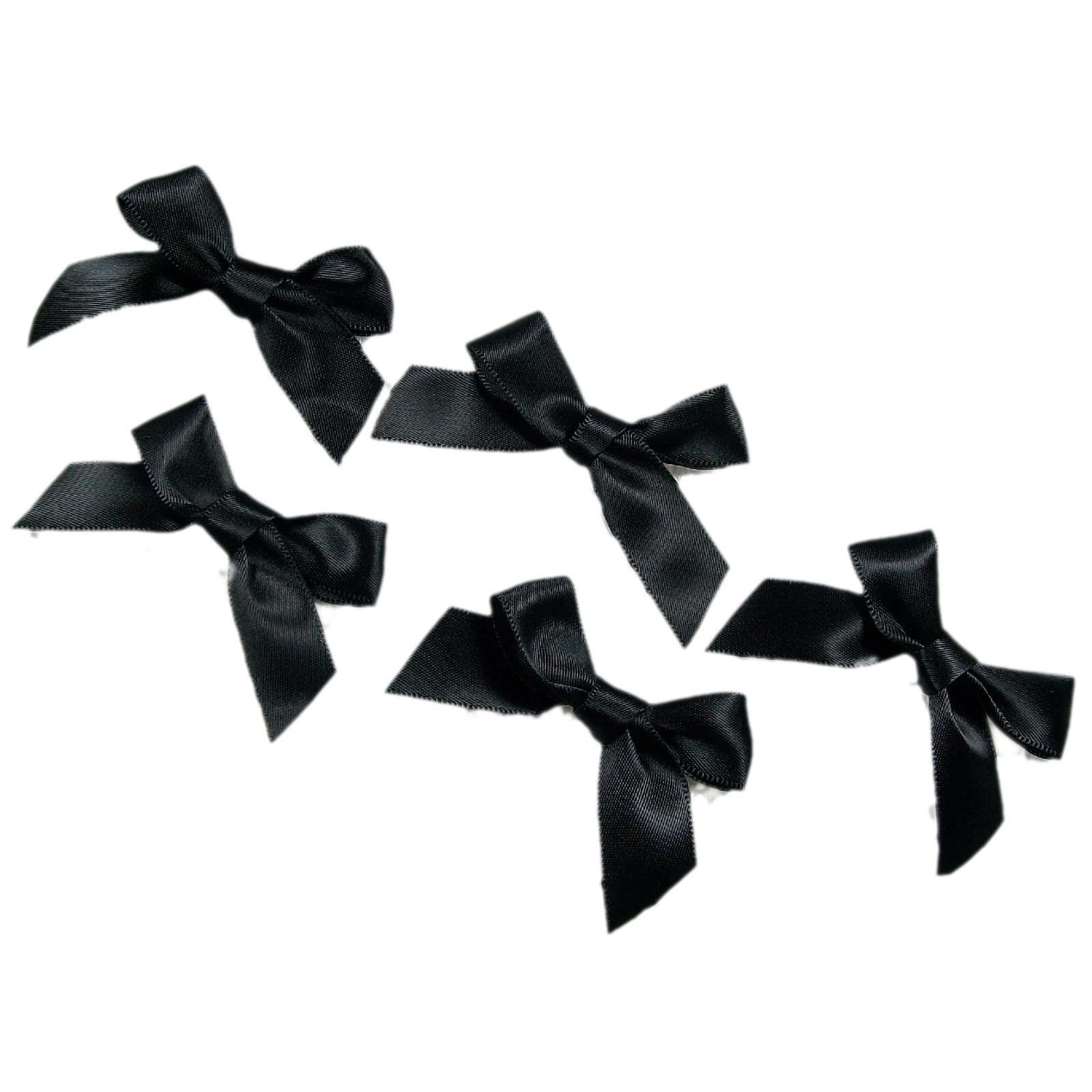 Satin Ribbon Bows approx 5.5cm wide Black Pack of 5