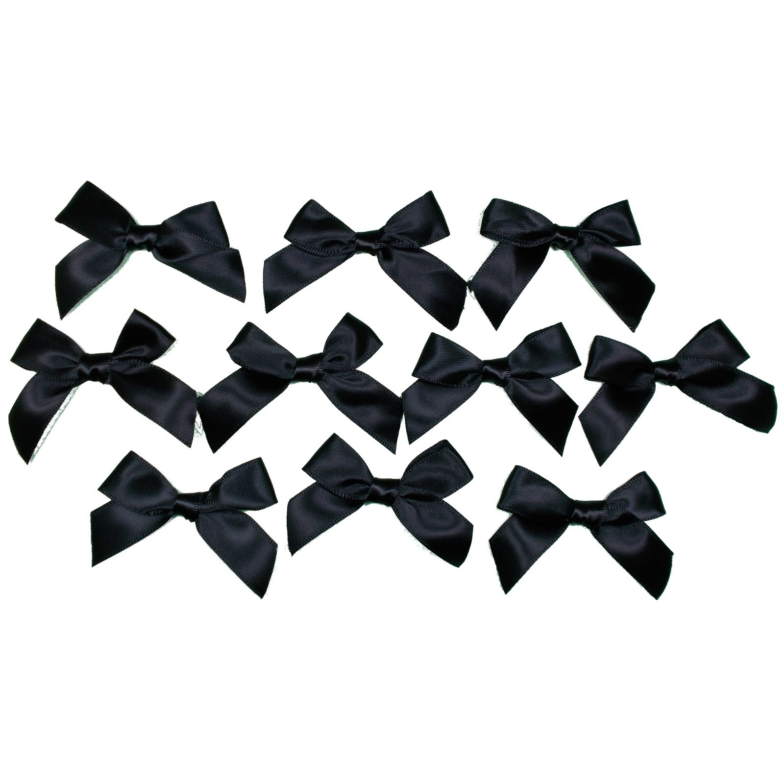 Satin Ribbon Bows approx 5.5cm wide Black Pack of 10