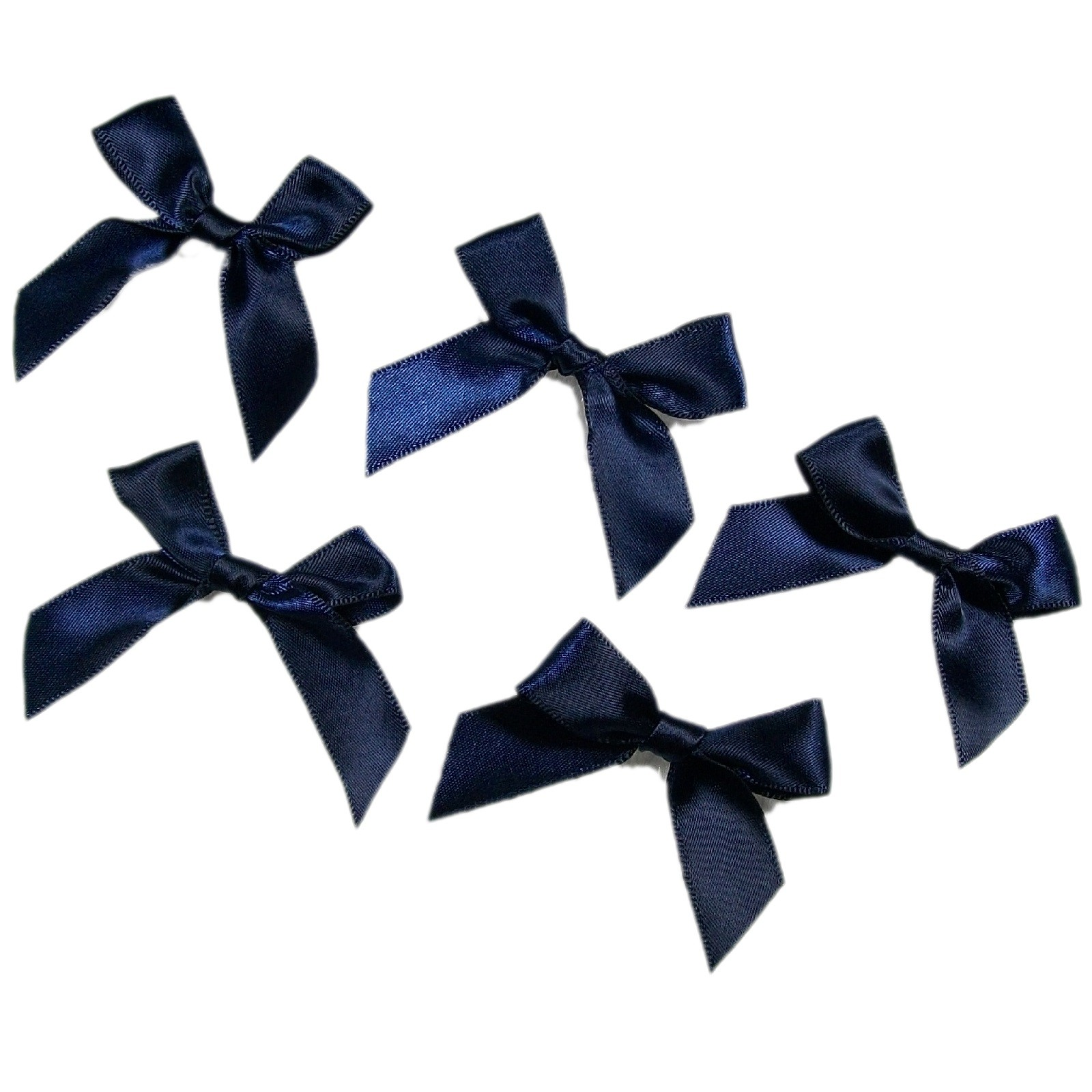 Satin Ribbon Bows approx 5.5cm wide Dark Blue Pack of 5