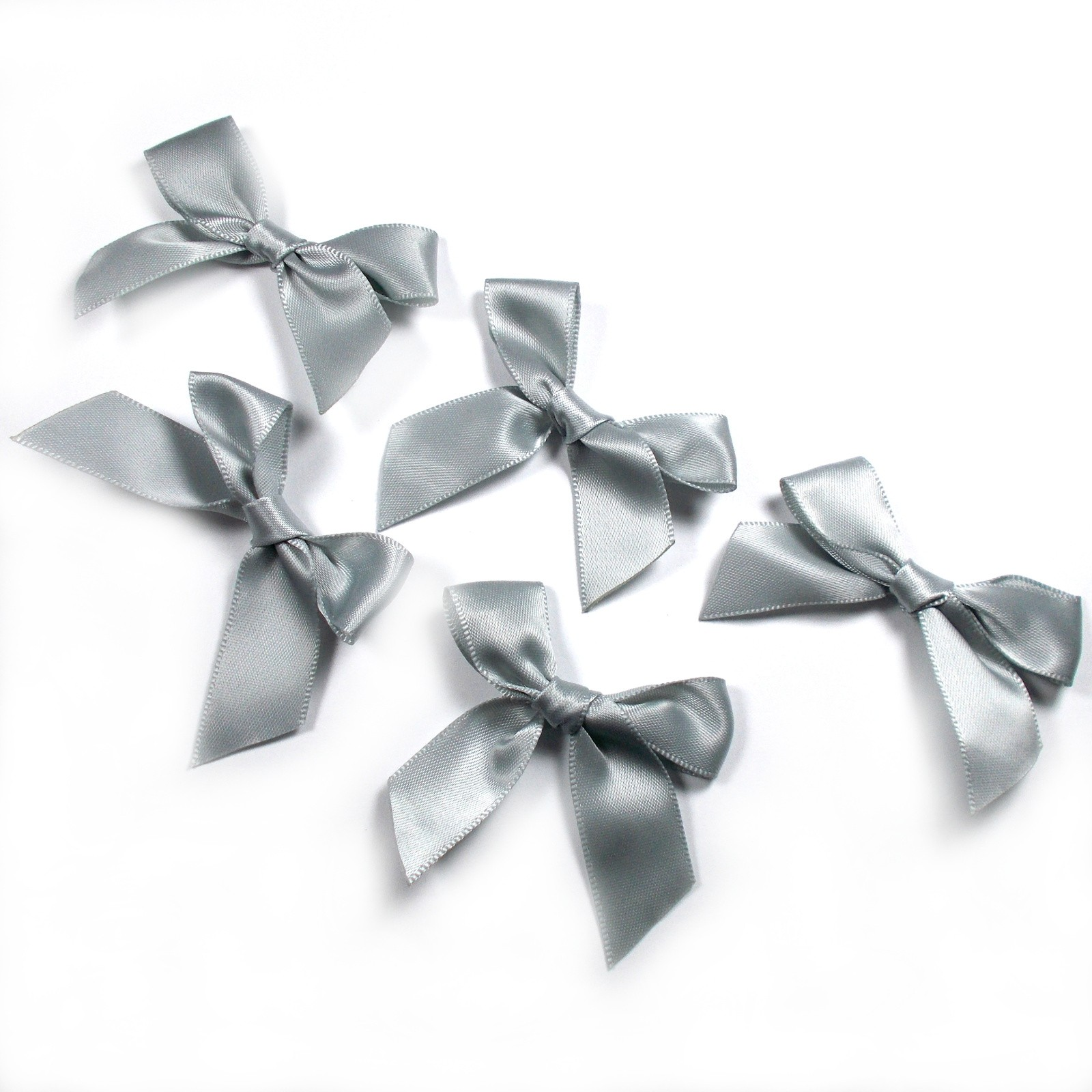 Satin Ribbon Bows approx 5.5cm wide Grey Pack of 5