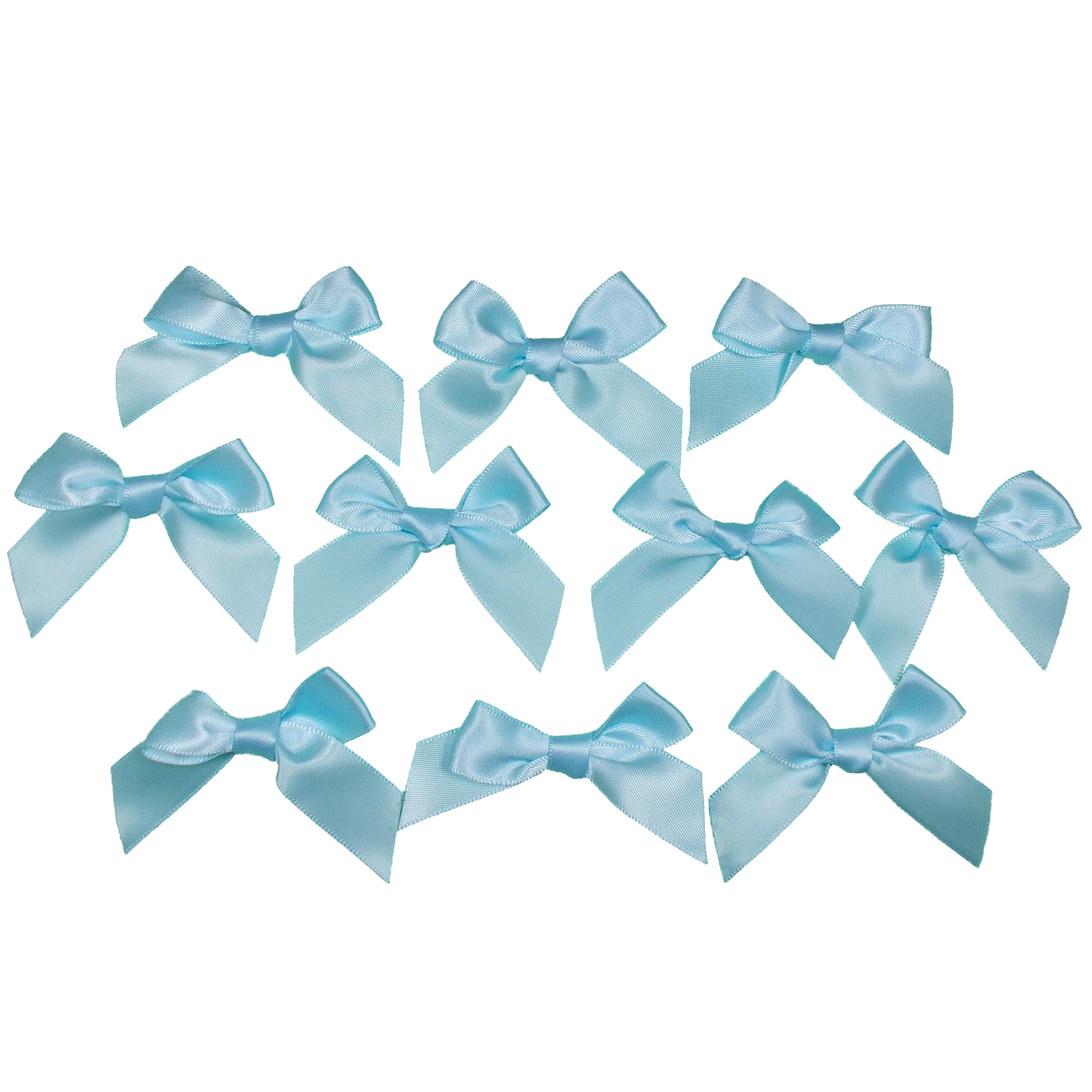 Satin Ribbon Bows approx 5.5cm wide Pale Blue Pack of 10