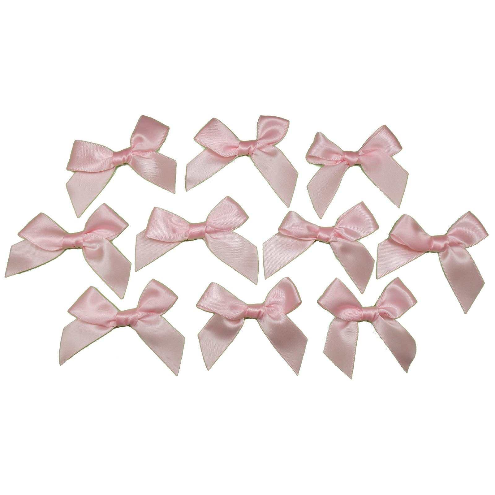 Satin Ribbon Bows approx 5.5cm wide Pale Pink Pack of 10