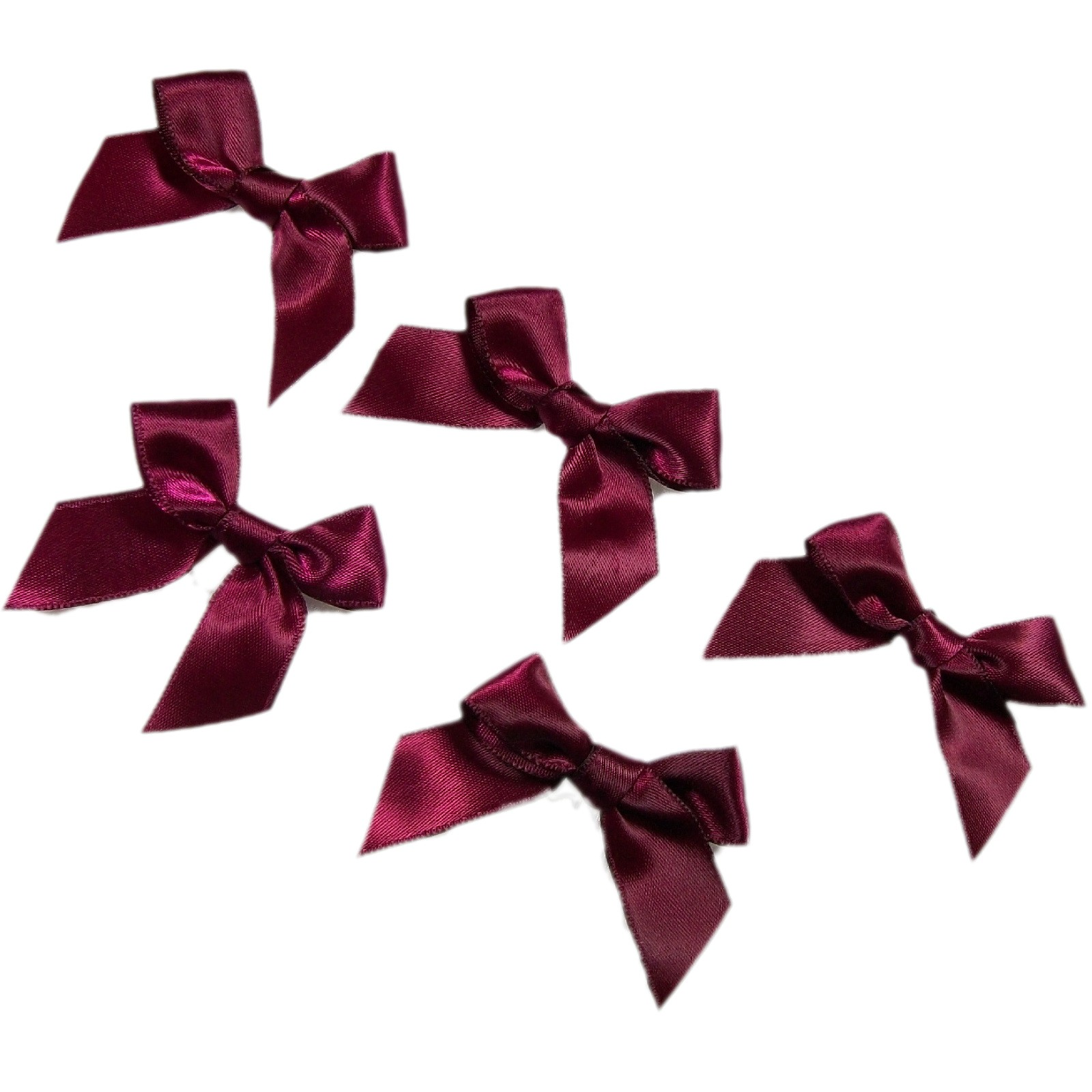Satin Ribbon Bows approx 5.5cm wide Wine Pack of 5