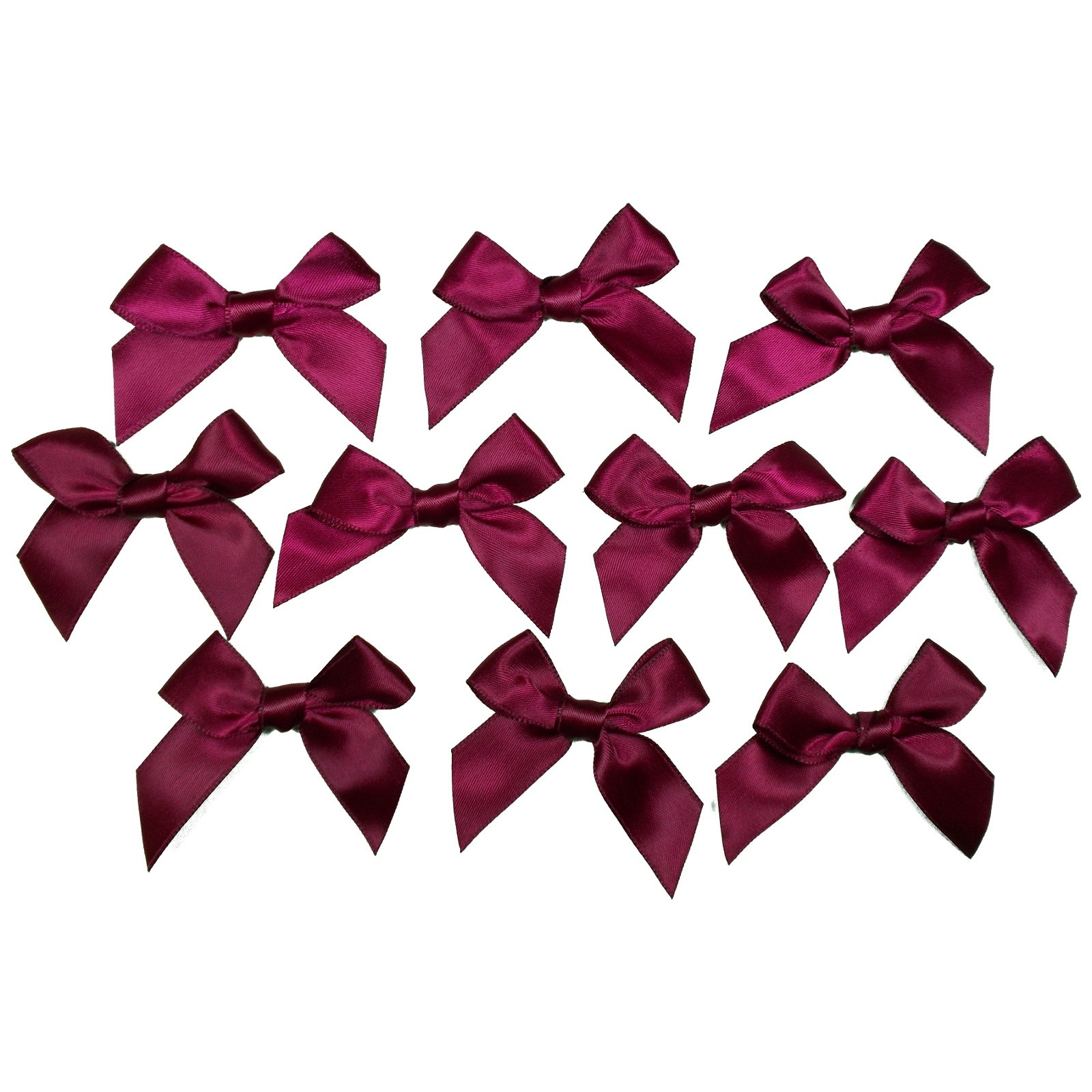 Satin Ribbon Bows approx 5.5cm wide Wine Pack of 10