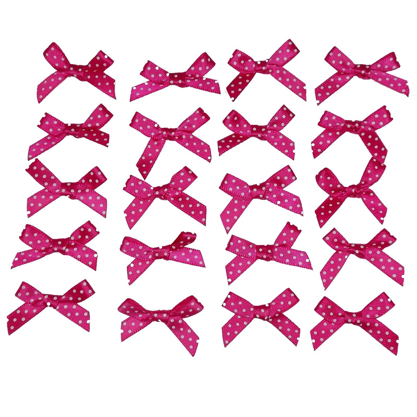 Satin Polka Dot Spot Ribbon Bows 4cm Pink Pack of 20