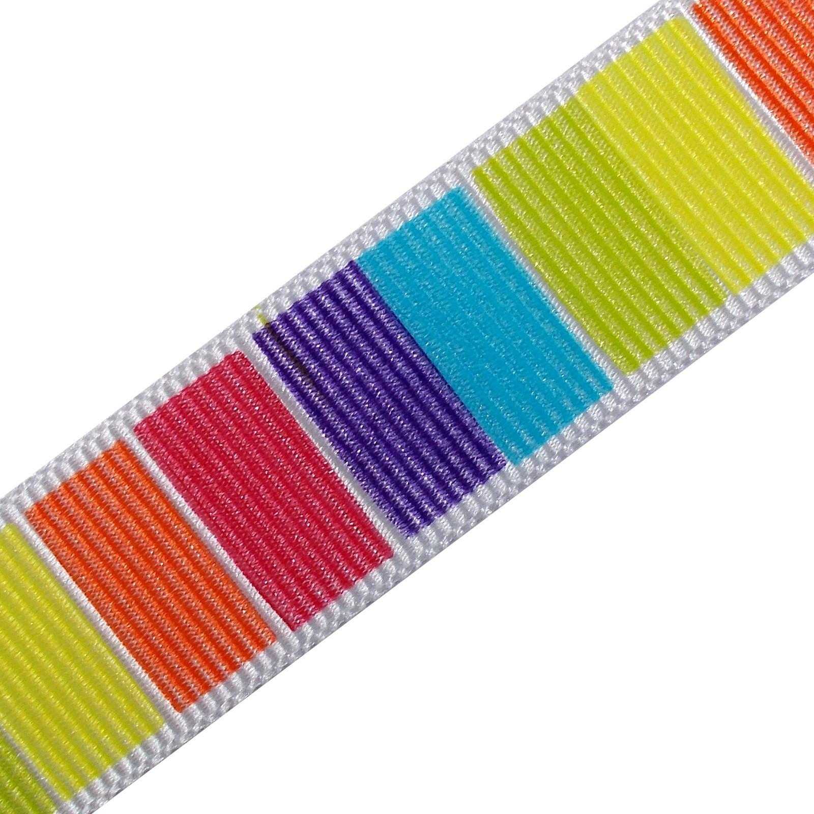 Berisfords Bright Rainbow Grosgrain Ribbon 25mm wide Block Stripes 2 metre length