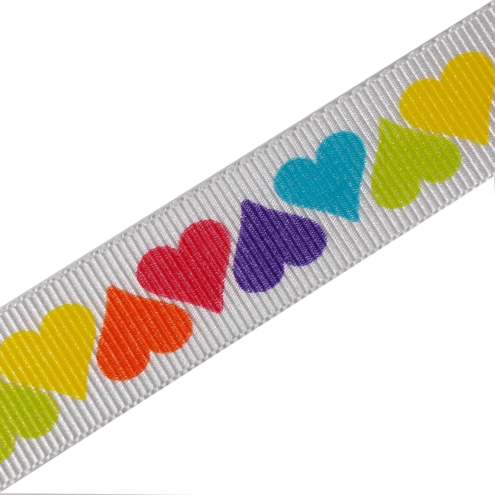 Berisfords Bright Rainbow Grosgrain Ribbon 25mm wide Hearts 1 metre length
