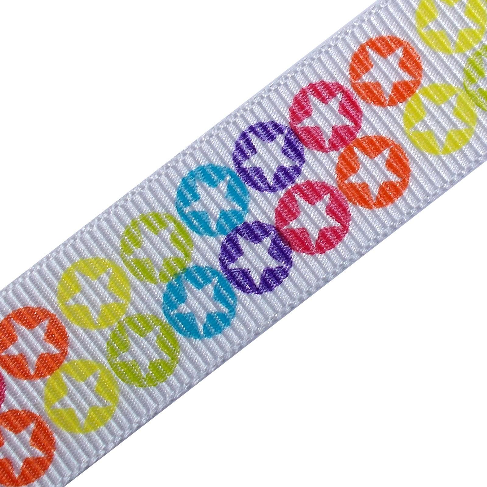 Berisfords Bright Rainbow Grosgrain Ribbon 16mm wide Stars 1 metre length