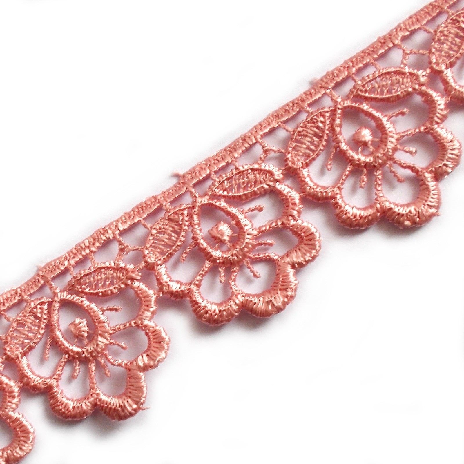 Scalloped Guipure Lace 27mm wide Dusky Pink 1 metre length
