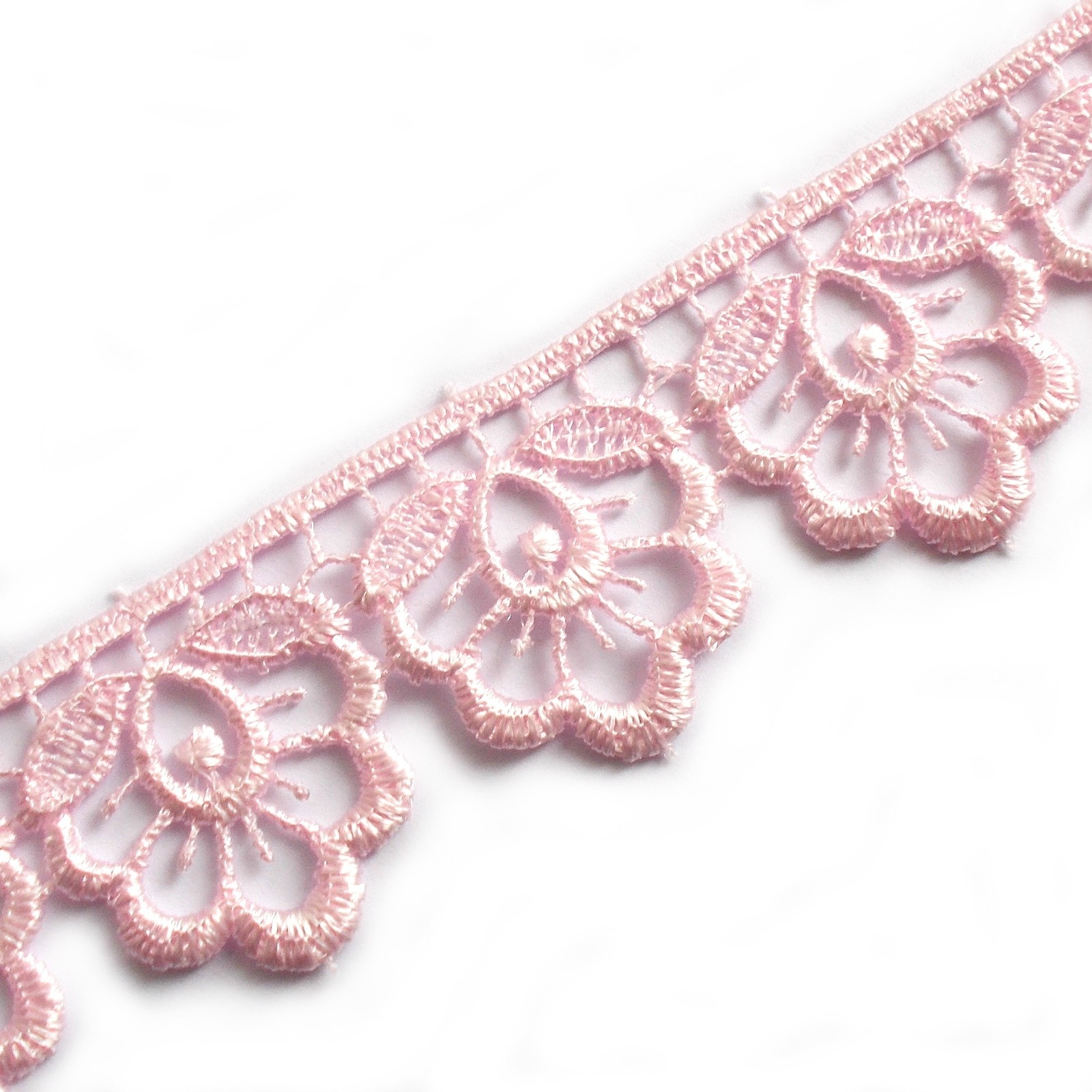 Scalloped Guipure Lace 27mm wide Pale Pink 3 metre length