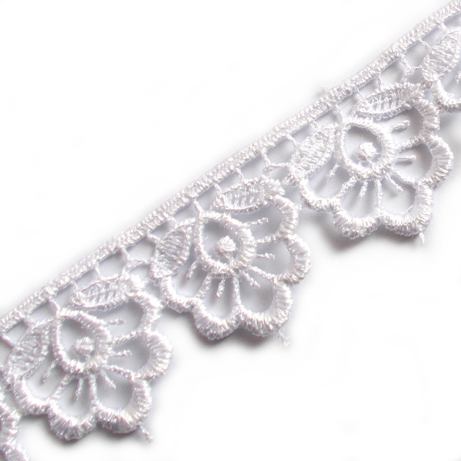 Scalloped Guipure Lace 27mm wide White 3 metre length