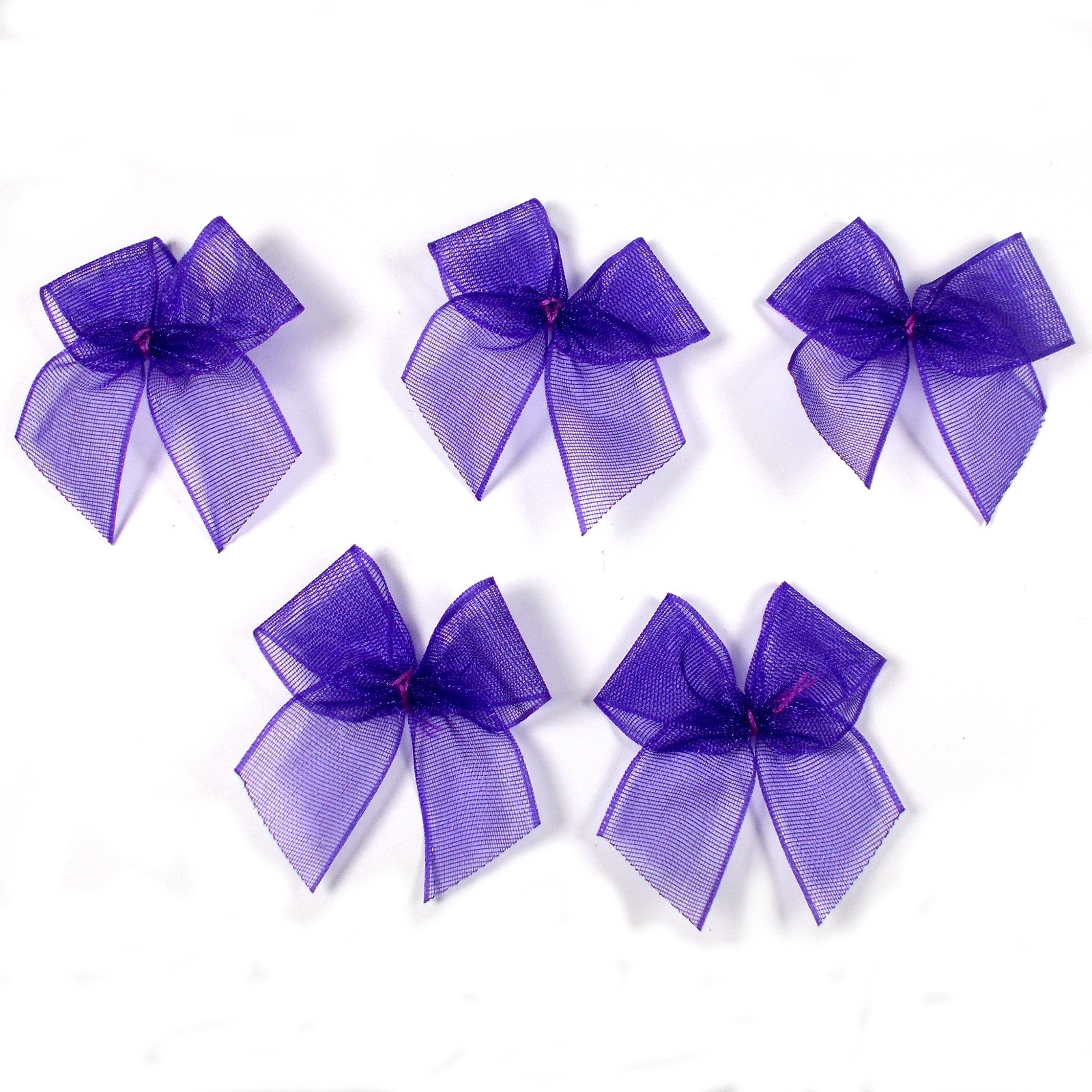 Sheer Ribbon Bows 3cm Purple Pack of 5