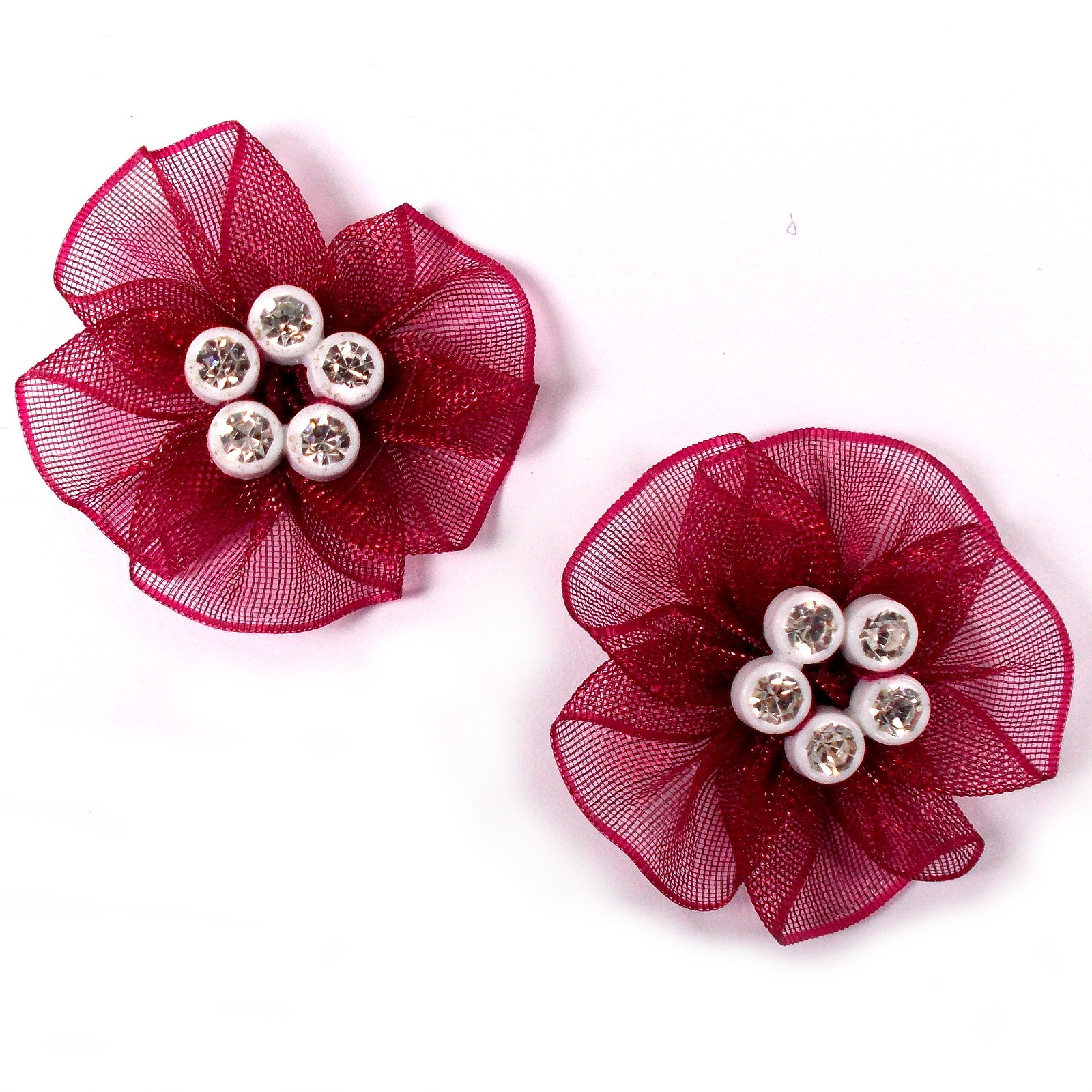 Sheer Ribbon Flowers with Diamante Circle Detail 3cm wide Burgundy Pack of 2