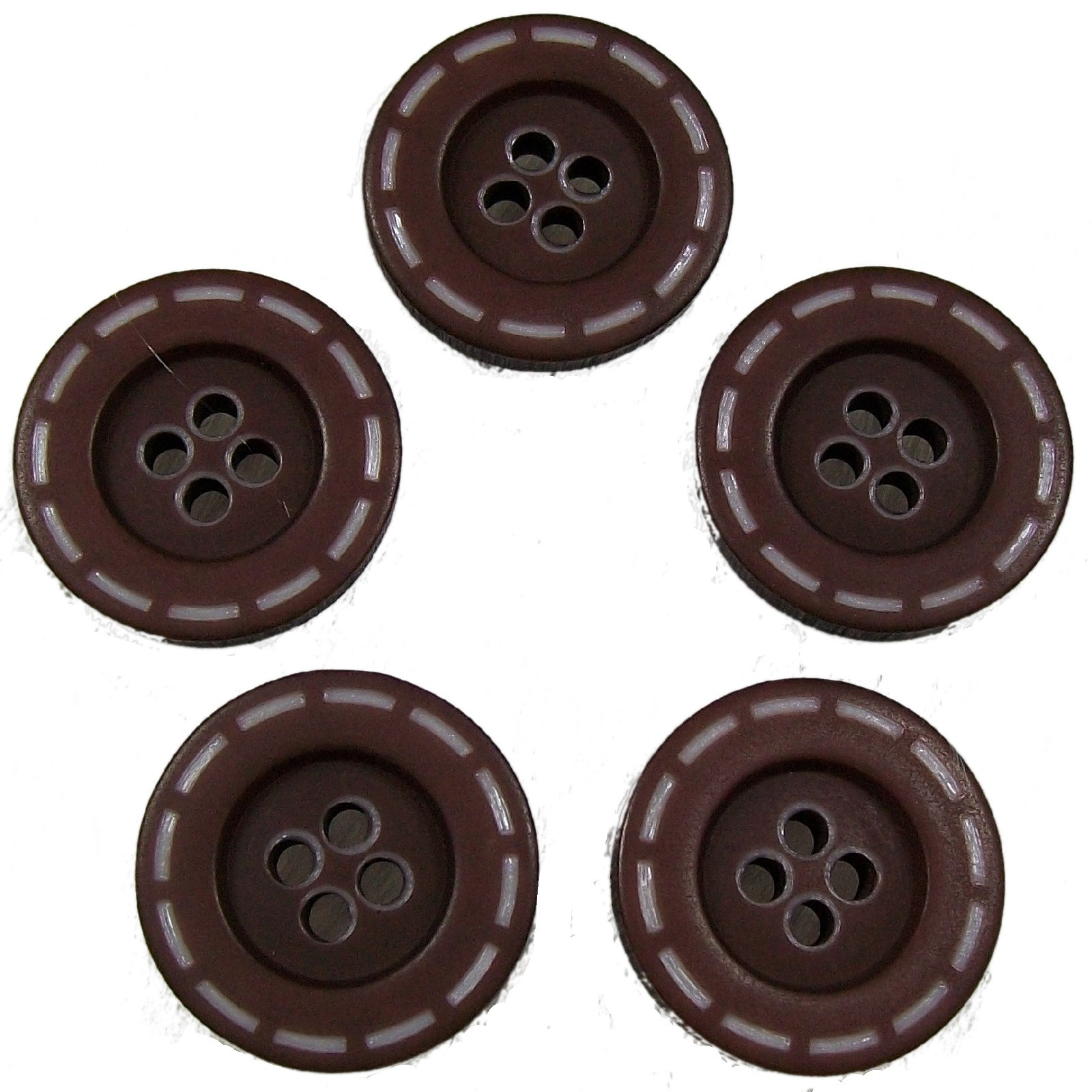Stitched Edge Effect 4 Hole Buttons 17mm Dark Brown Pack of 5