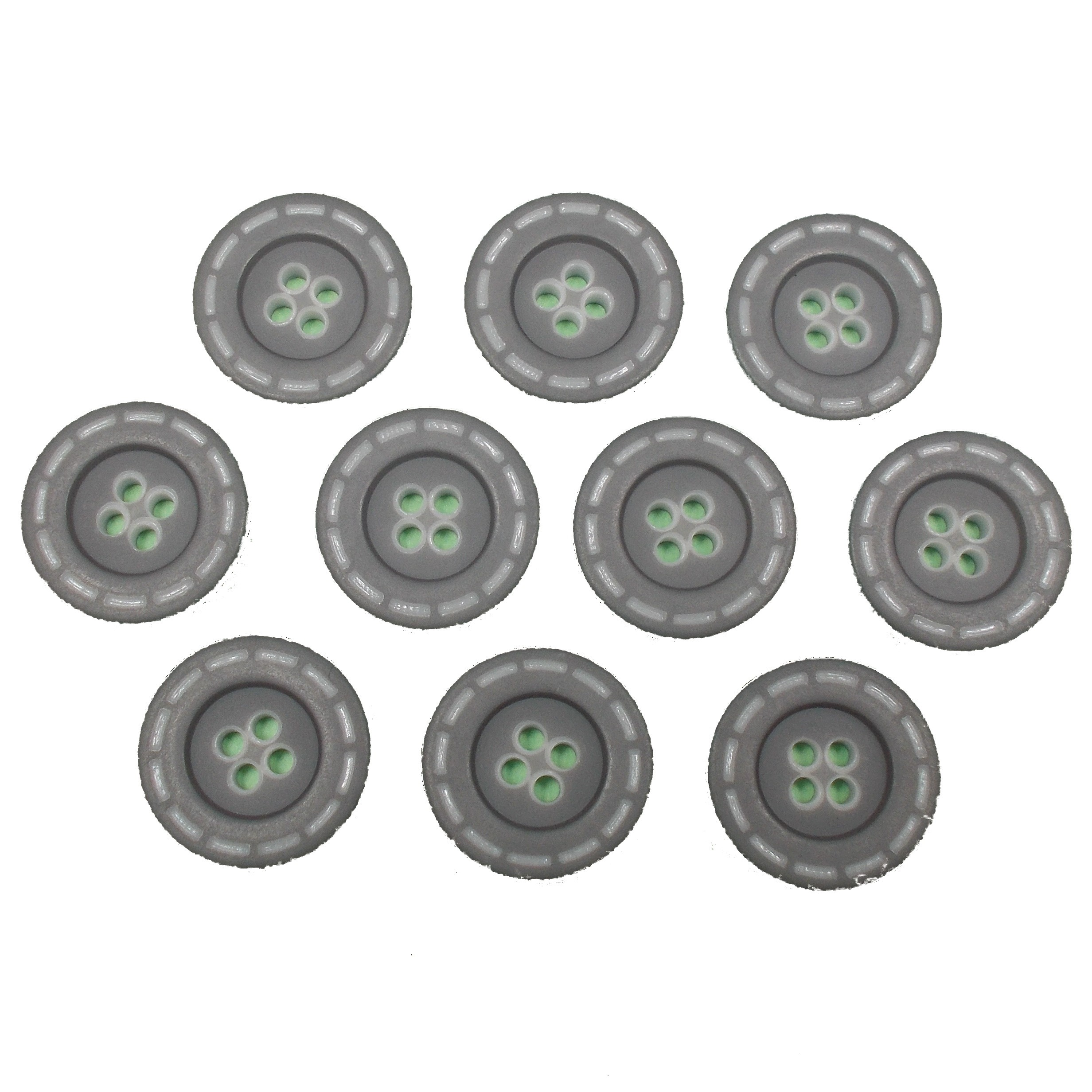 Stitched Edge Effect 4 Hole Buttons 17mm Grey Pack of 10